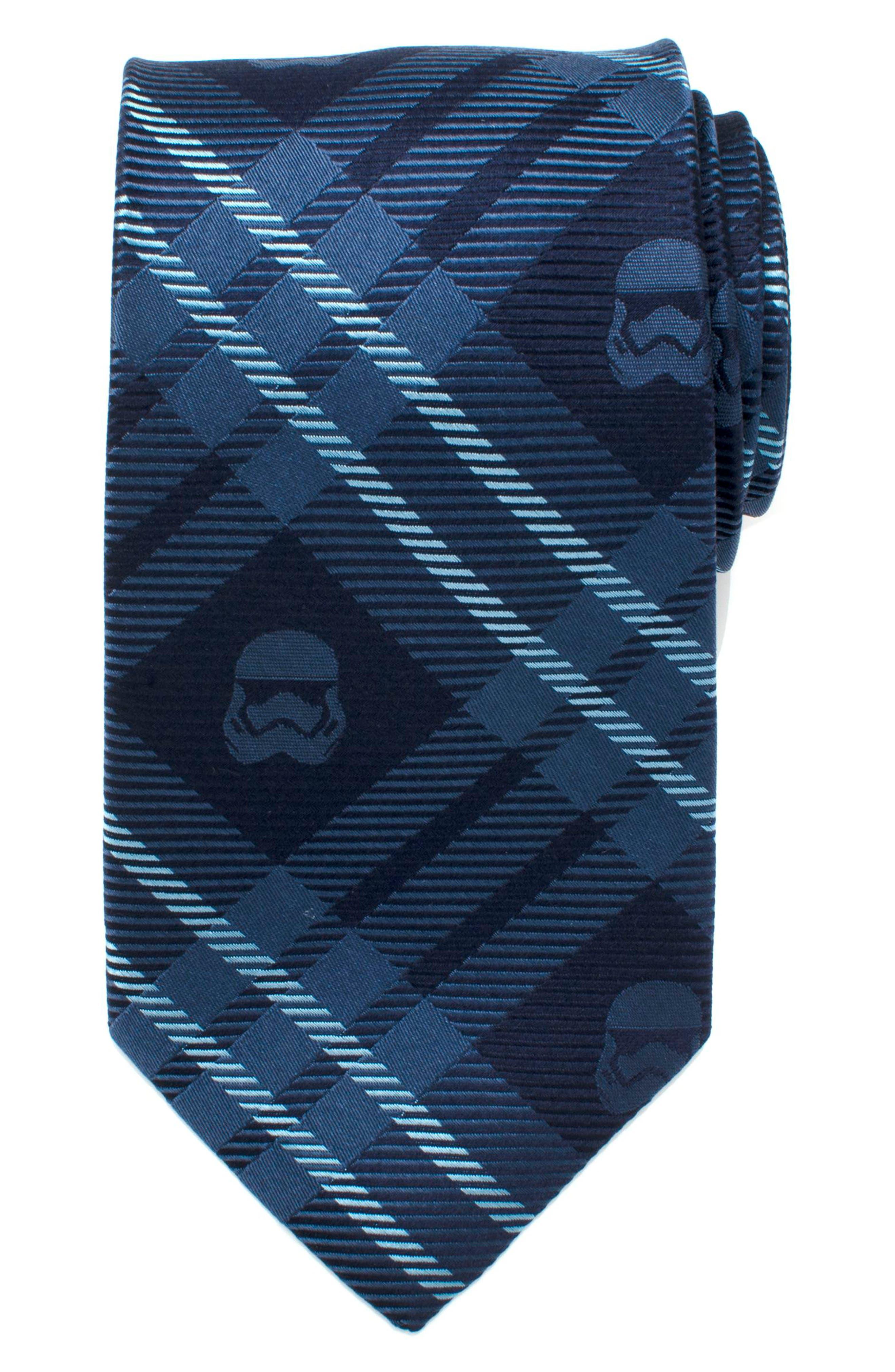 Stormtrooper Plaid Silk Tie,                             Main thumbnail 1, color,