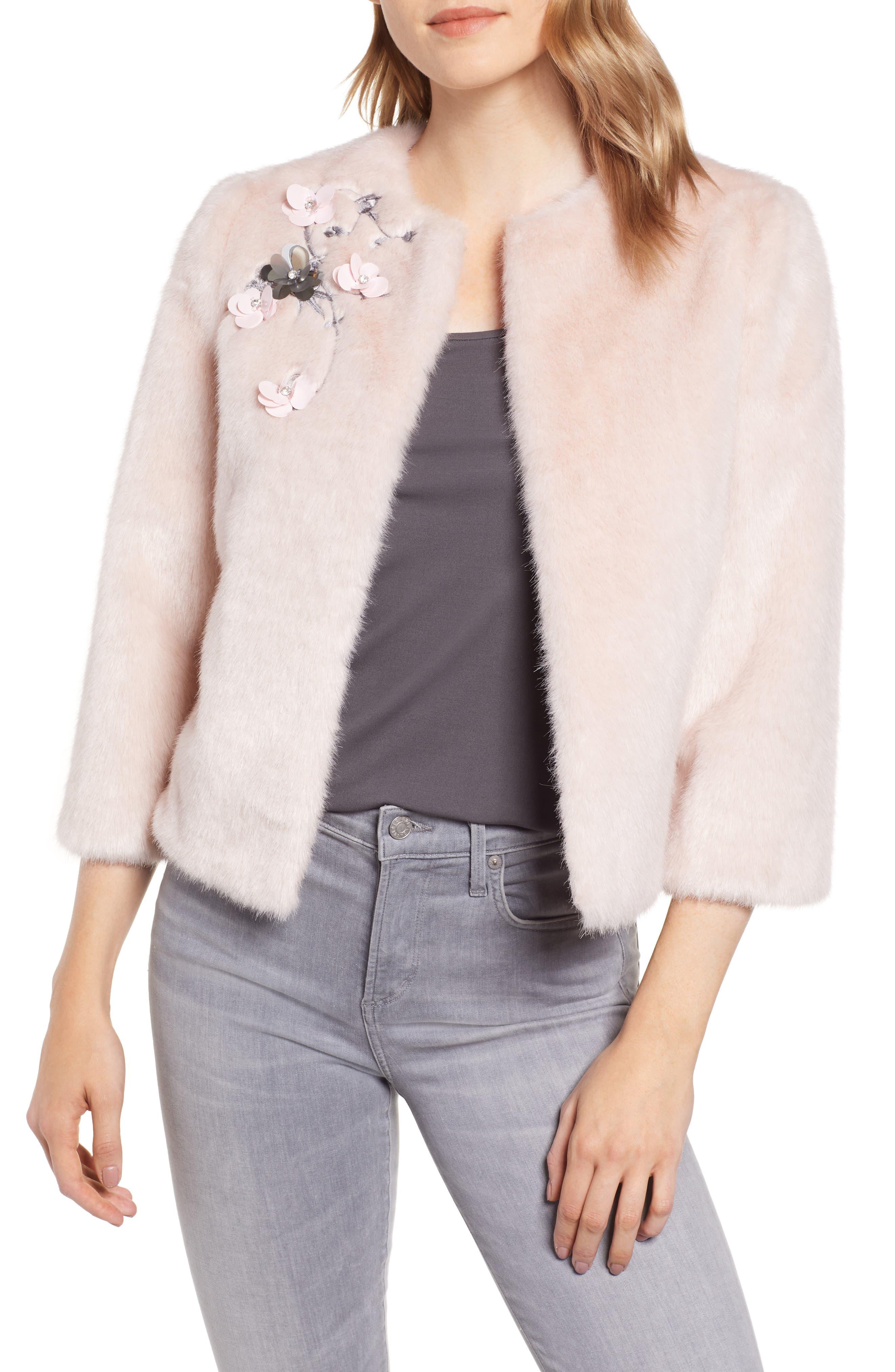 Appliqué Embellished Faux Fur Crop Jacket,                             Main thumbnail 1, color,                             NUDE PINK