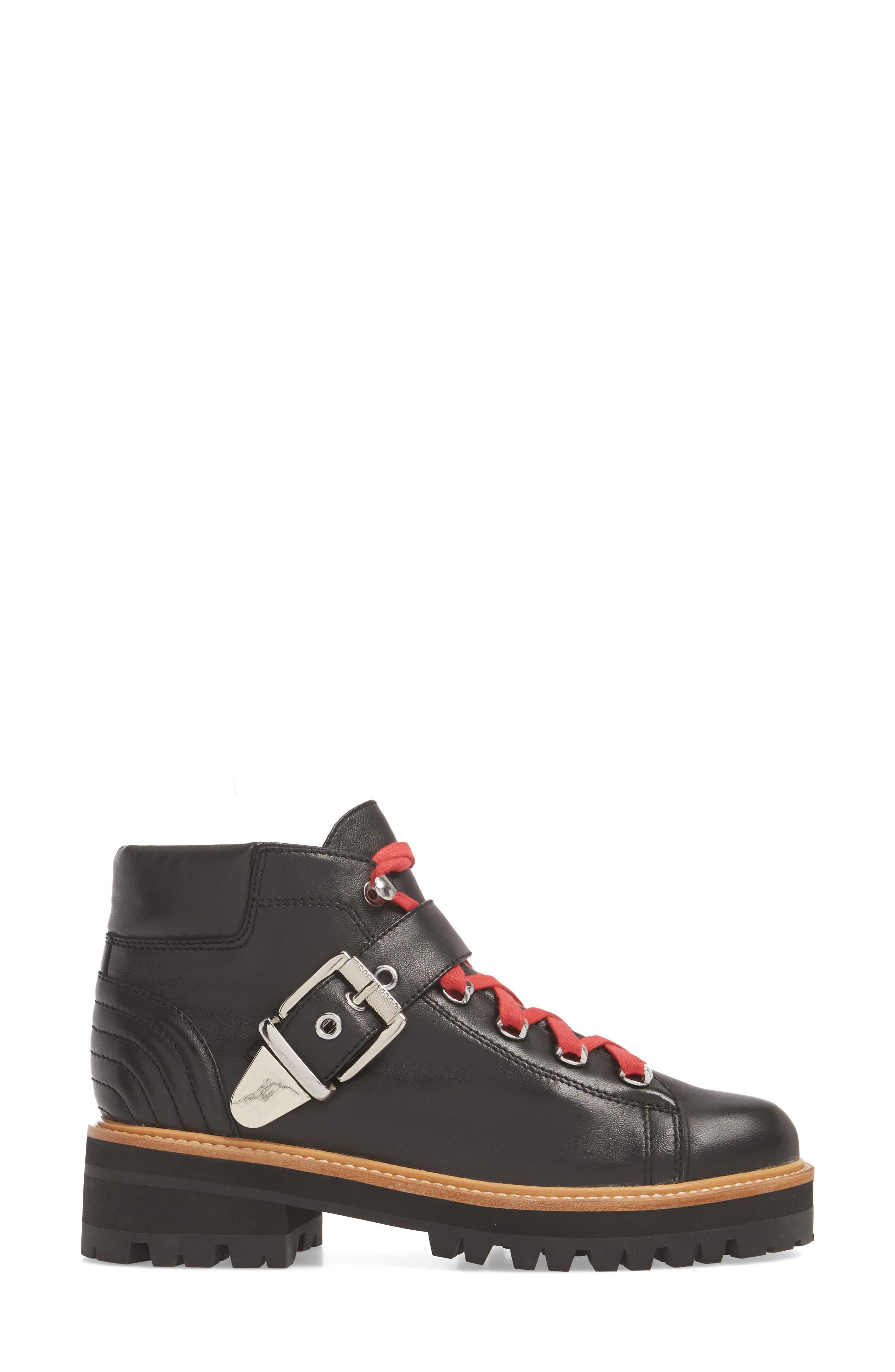 Indre Platform Boot,                             Alternate thumbnail 3, color,                             BLACK LEATHER