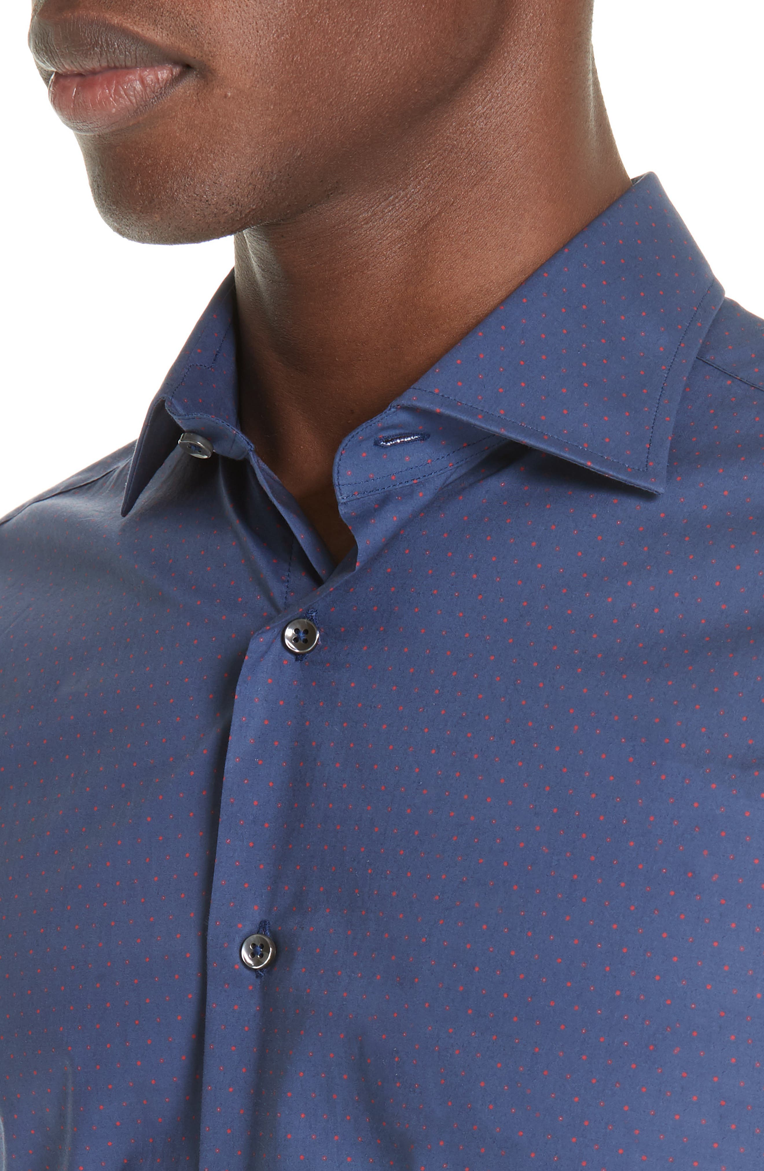 Regular Fit Dot Dress Shirt,                             Alternate thumbnail 2, color,                             DARK BLUE