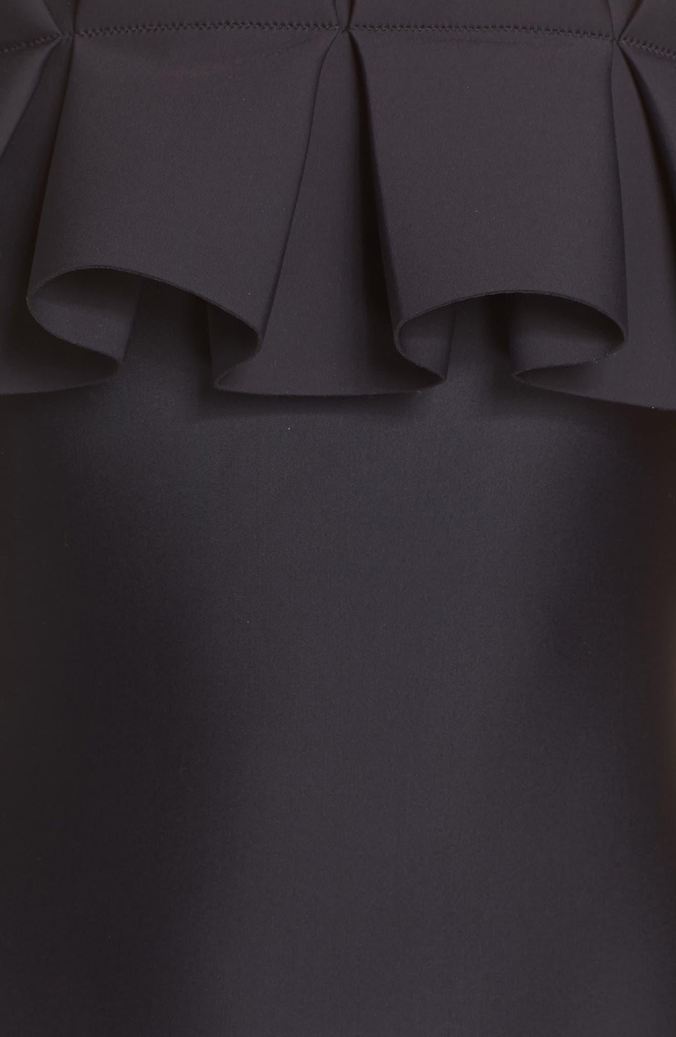 Solmina Box Pleated Bardot One-Piece Swimsuit,                             Alternate thumbnail 5, color,                             BLACK