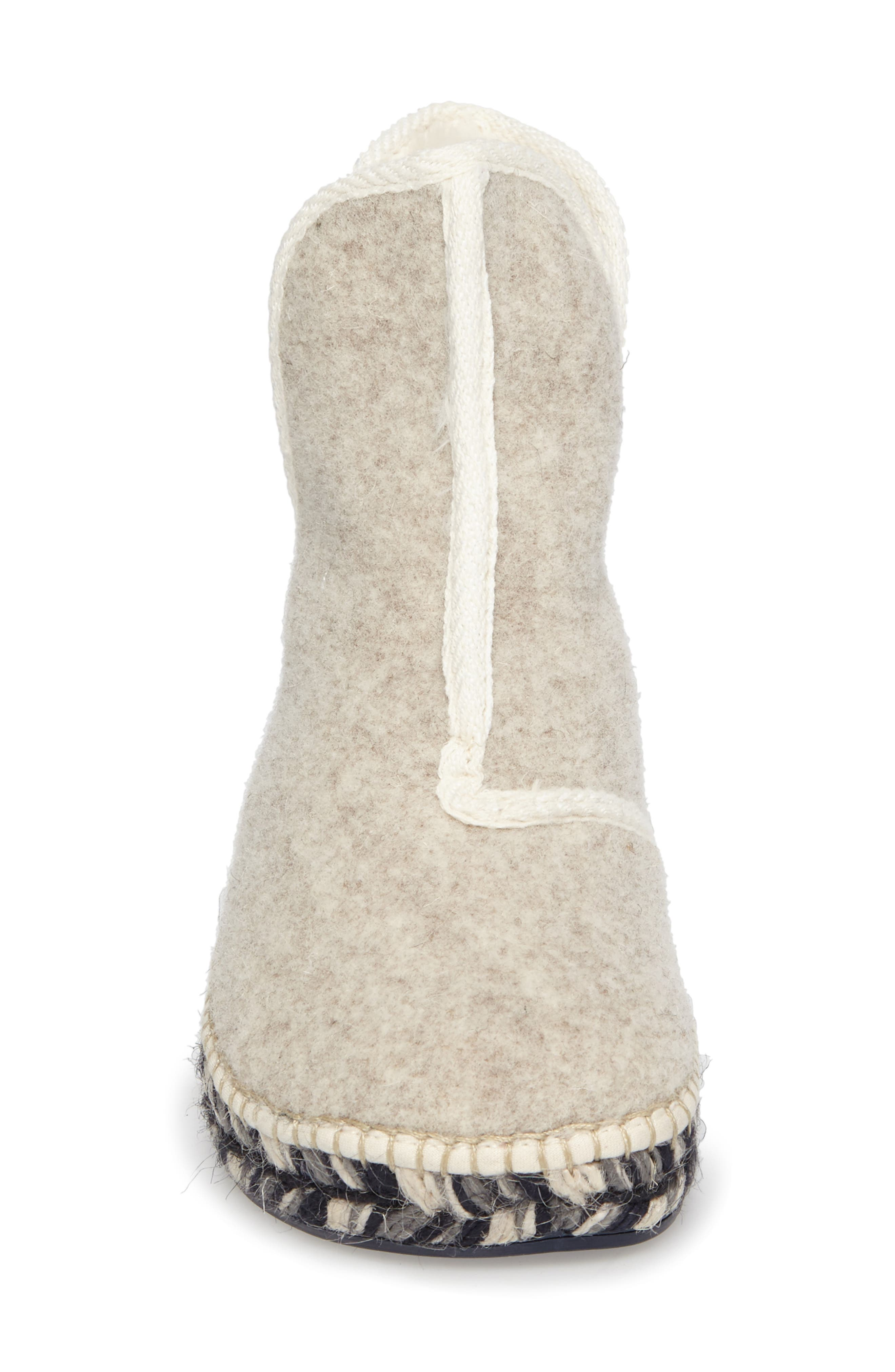 Espadrille Platform Bootie with Faux Fur Lining,                             Alternate thumbnail 4, color,                             ECRU FELT