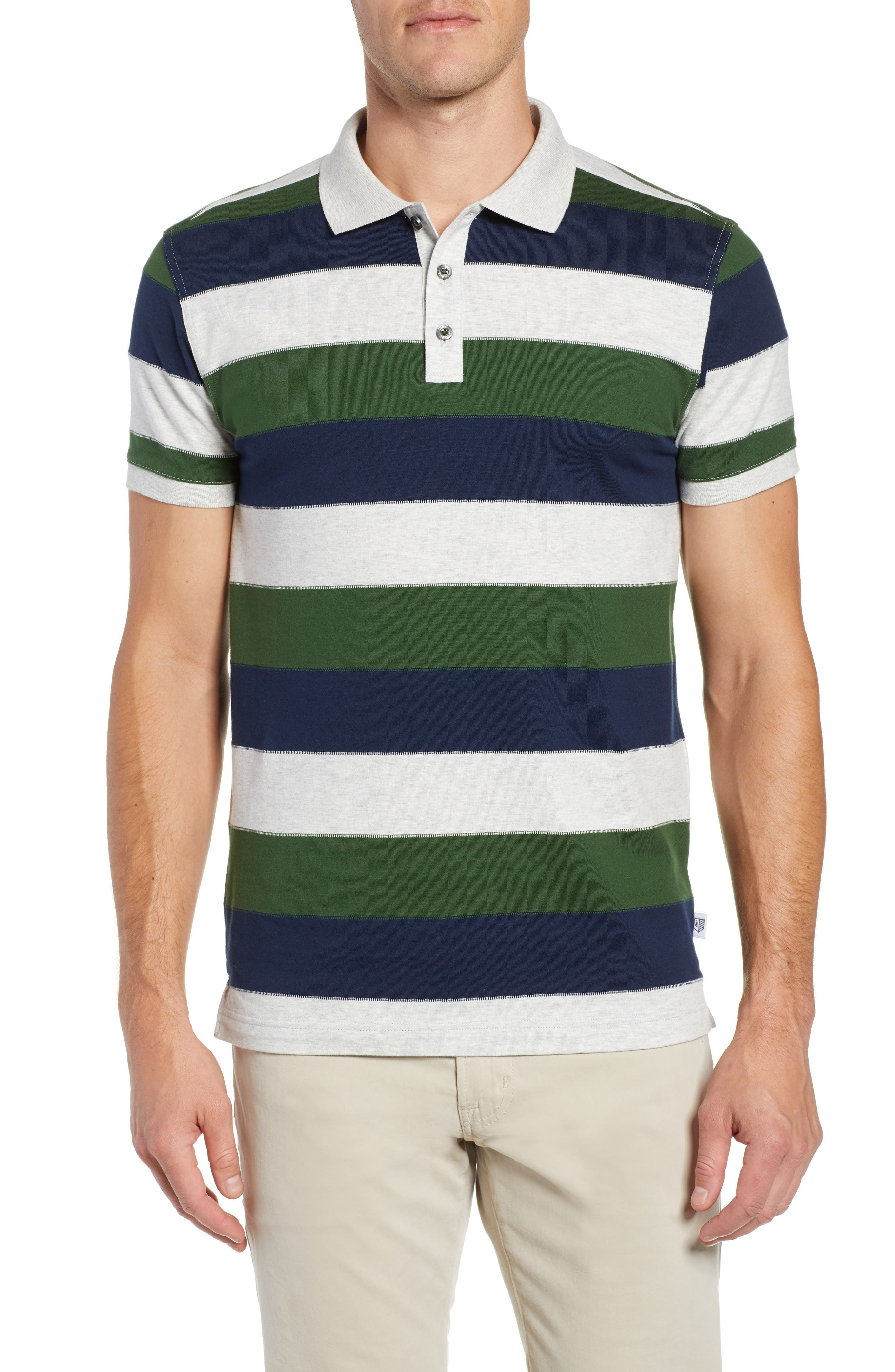 Rule 18 Regular Fit Wide Stripe Polo, Main, color, 020