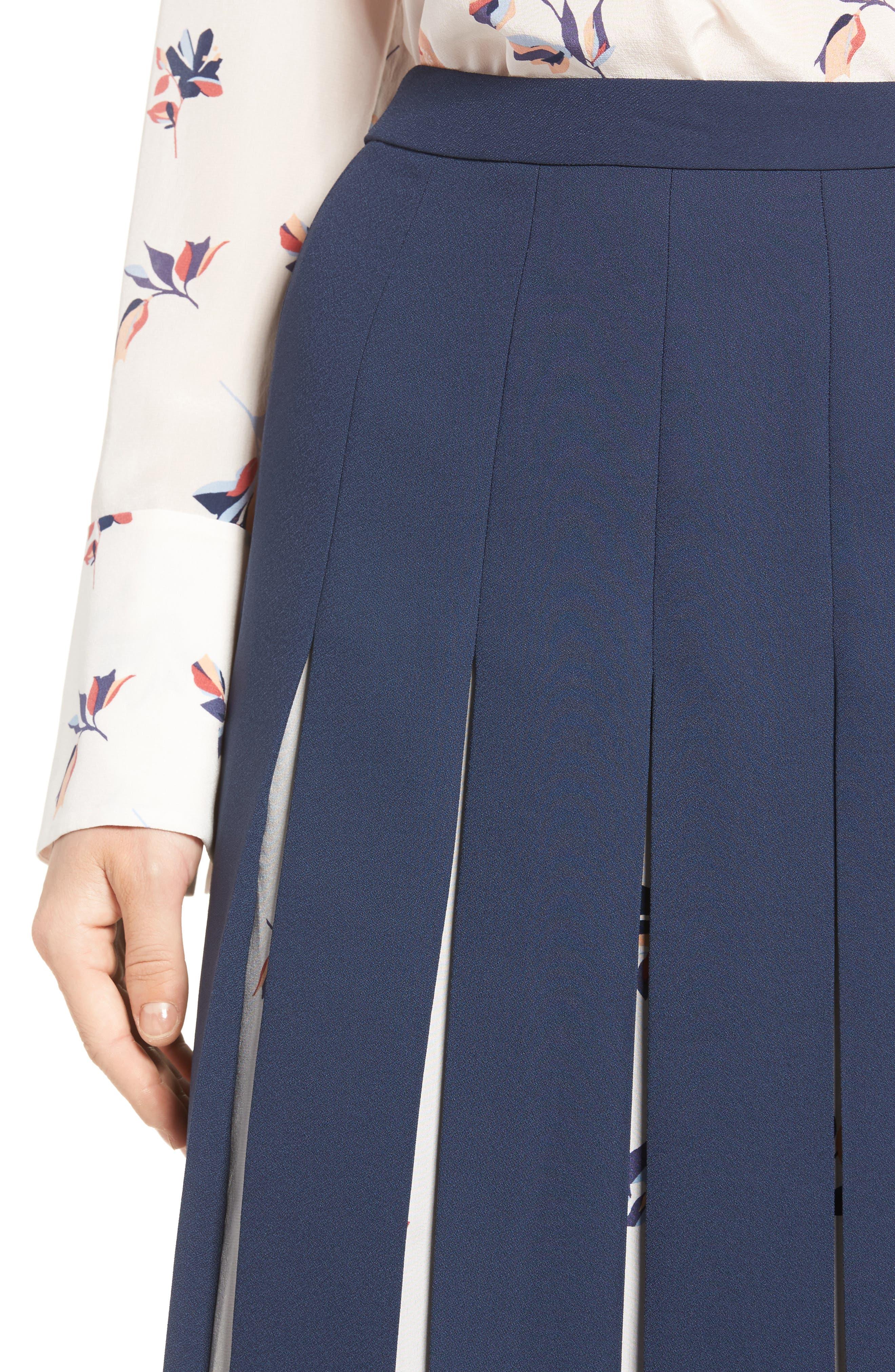 Print Mix Pleated Skirt,                             Alternate thumbnail 4, color,                             410
