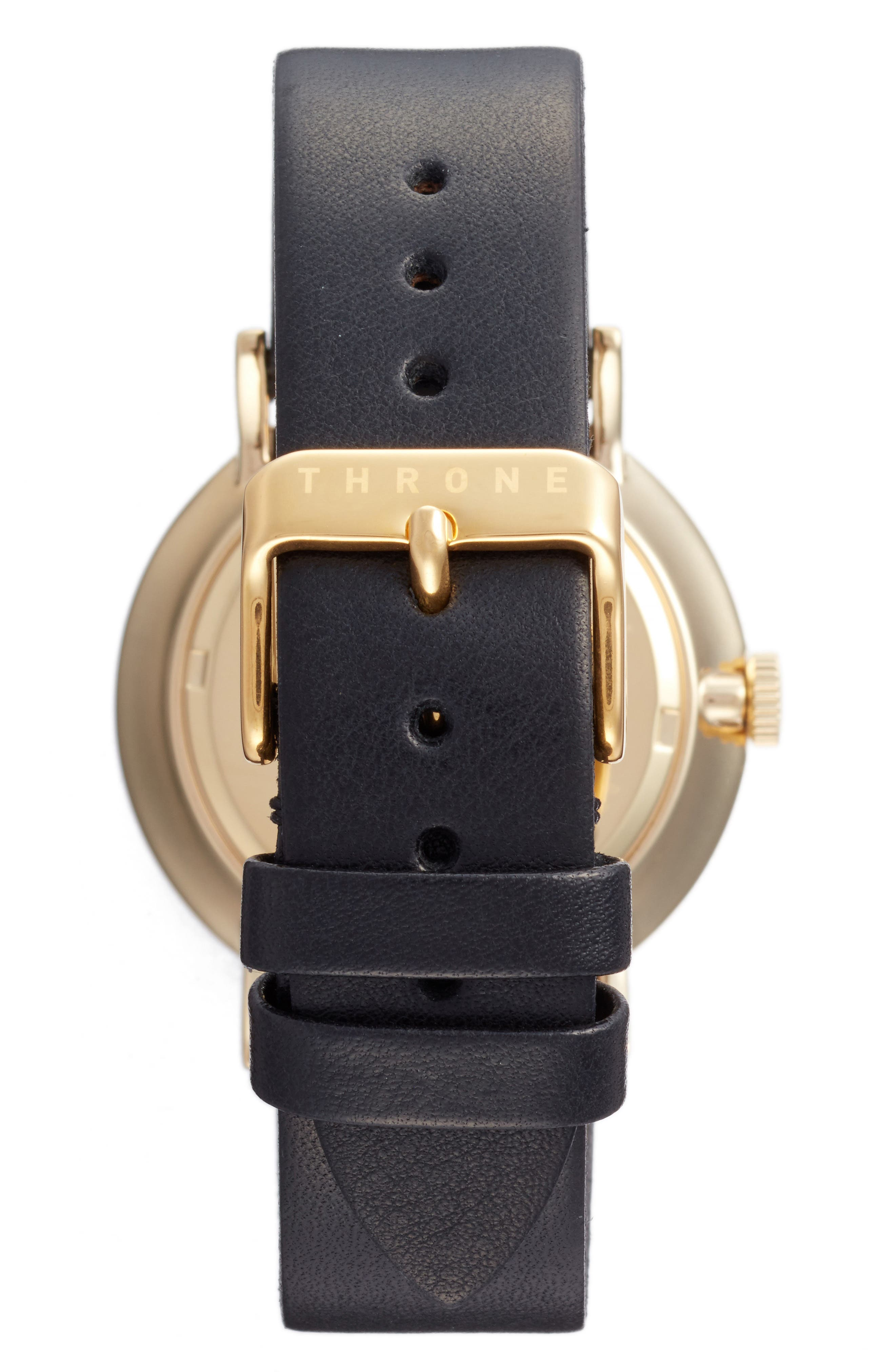 1.0 Leather Strap Watch, 40mm,                             Alternate thumbnail 2, color,                             BLACK/ GOLD