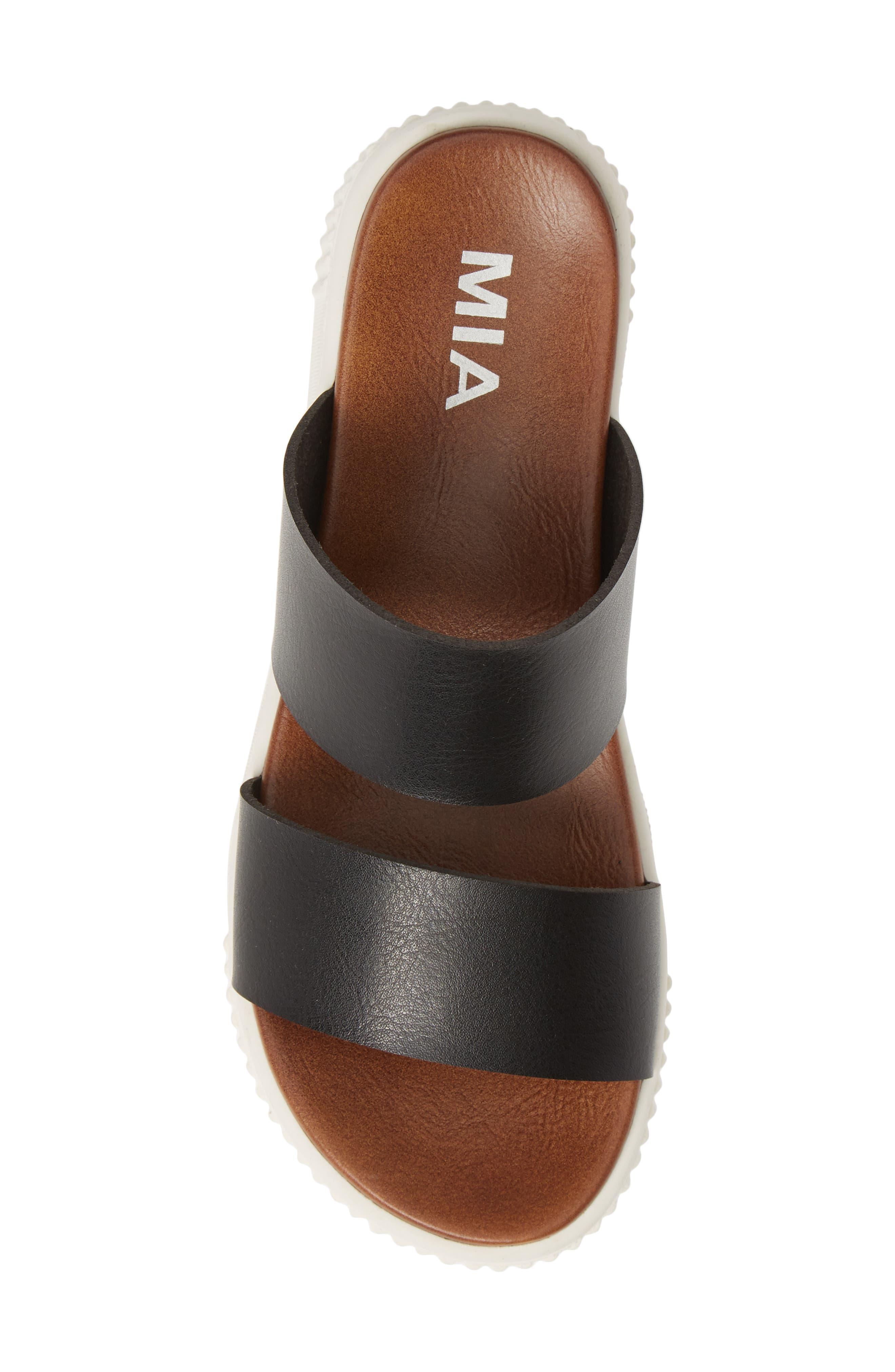 MIA,                             Lexi Platform Slide Sandal,                             Alternate thumbnail 5, color,                             BLACK LEATHER
