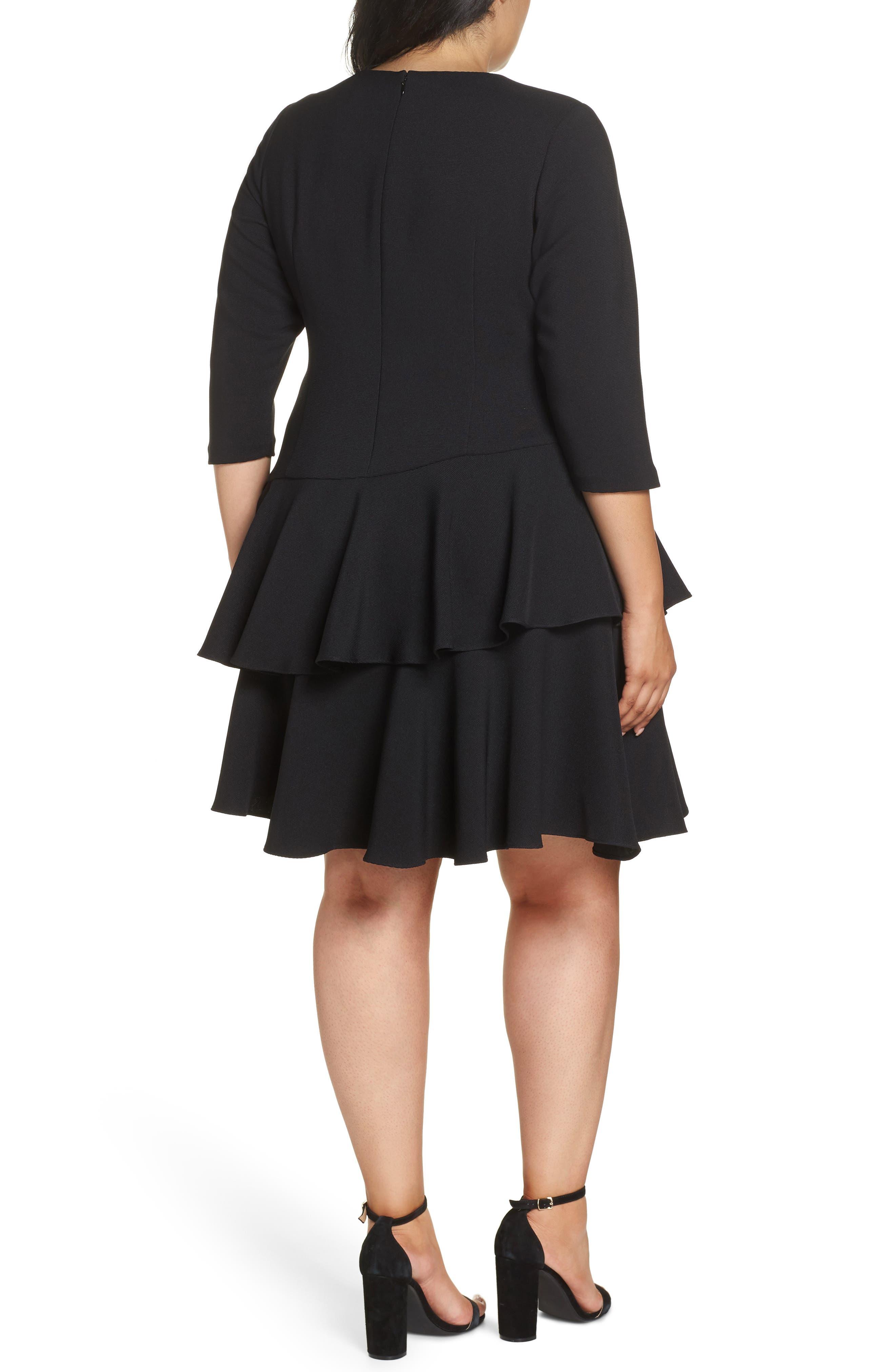 Ruffle Tiered Shift Dress,                             Alternate thumbnail 2, color,                             BLACK