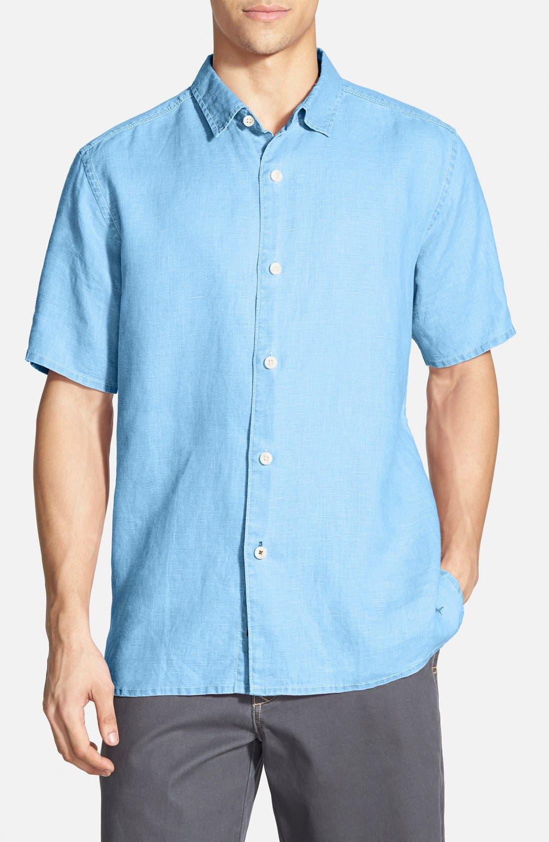 Seaglass Breezer Short Sleeve Linen Sport Shirt,                             Main thumbnail 9, color,