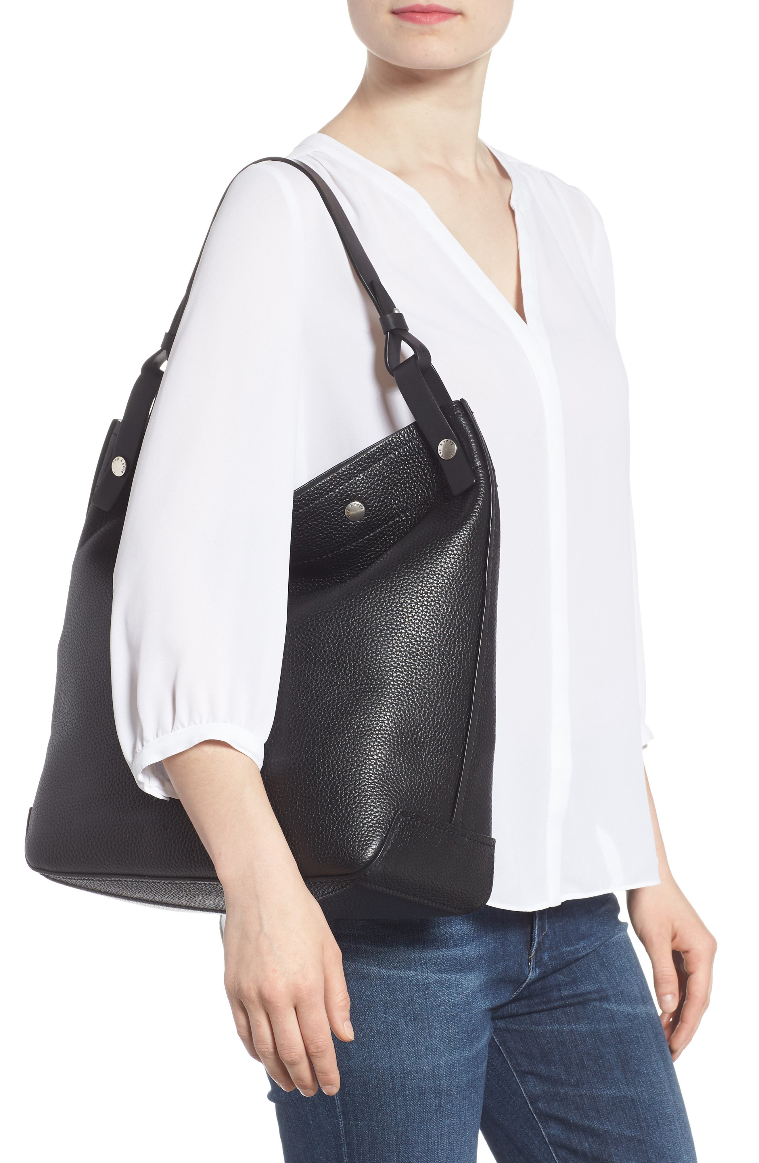 Compass Snap Hobo,                             Alternate thumbnail 2, color,                             BLACK