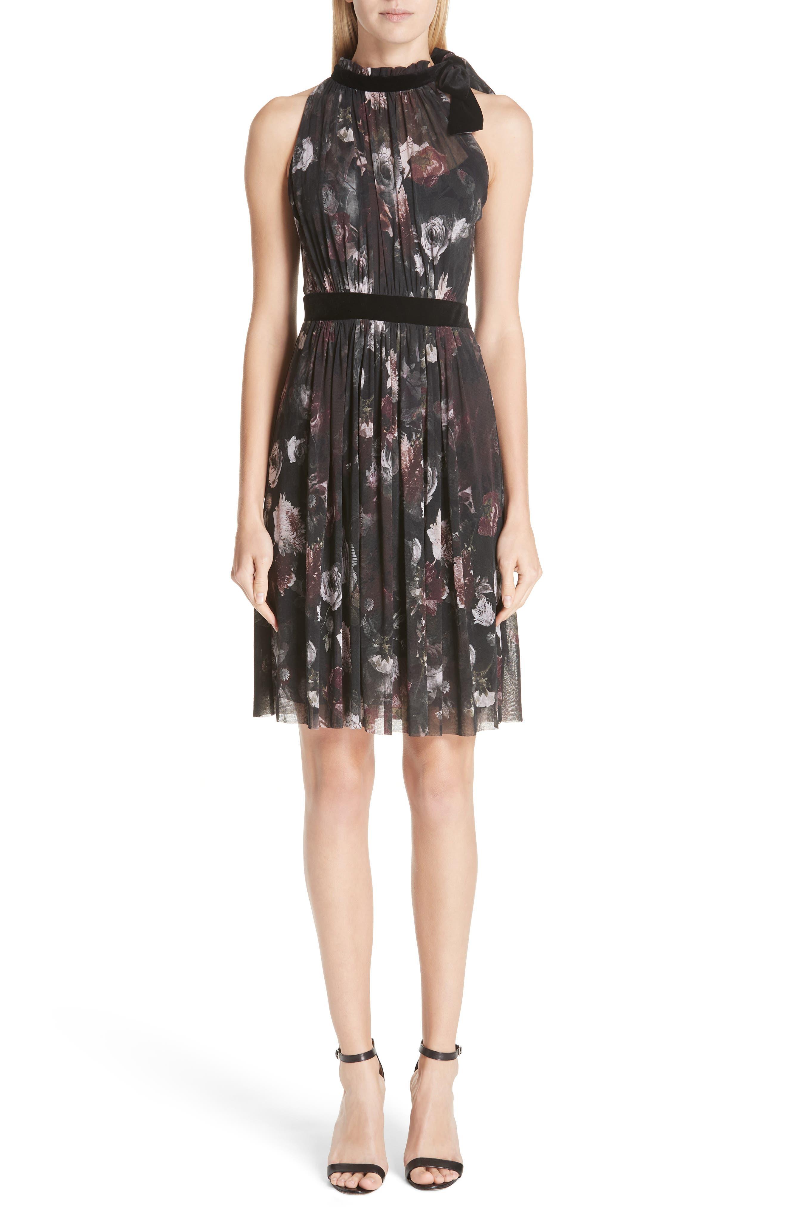 Fuzzi Floral Print Tulle Halter Dress, Black