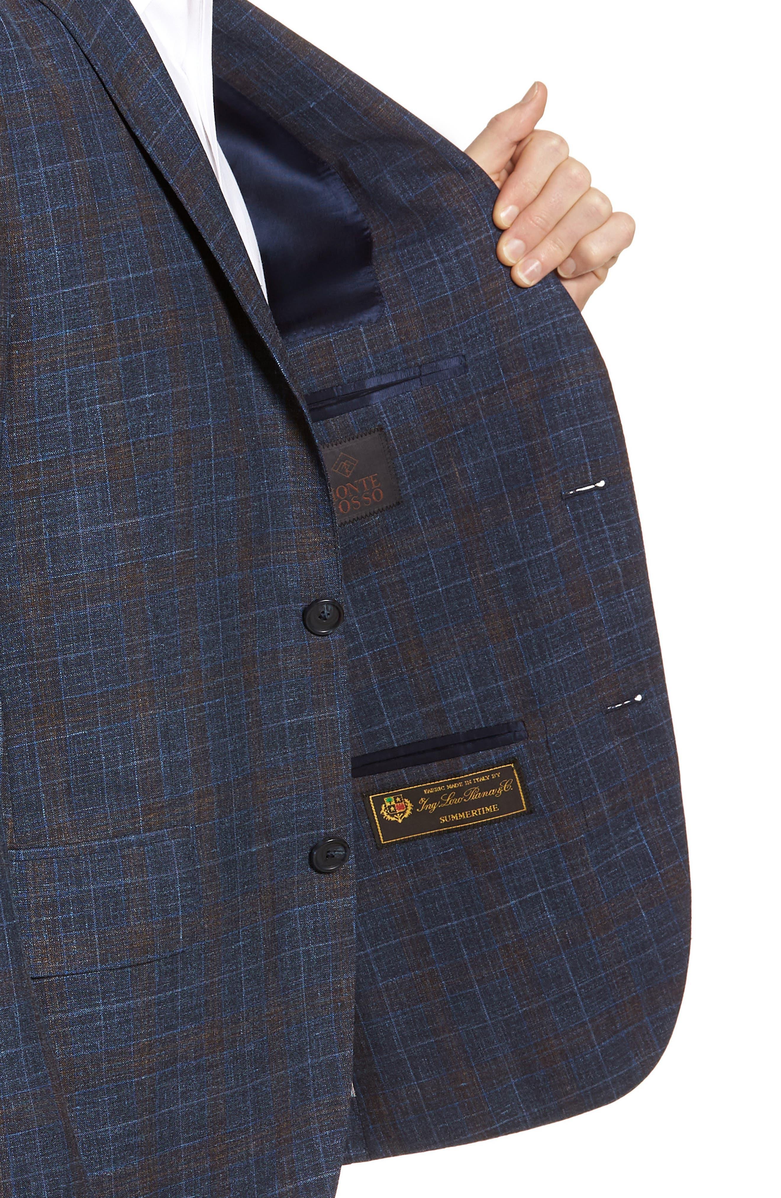 Trim Fit Plaid Wool Blend Sport Coat,                             Alternate thumbnail 4, color,                             410