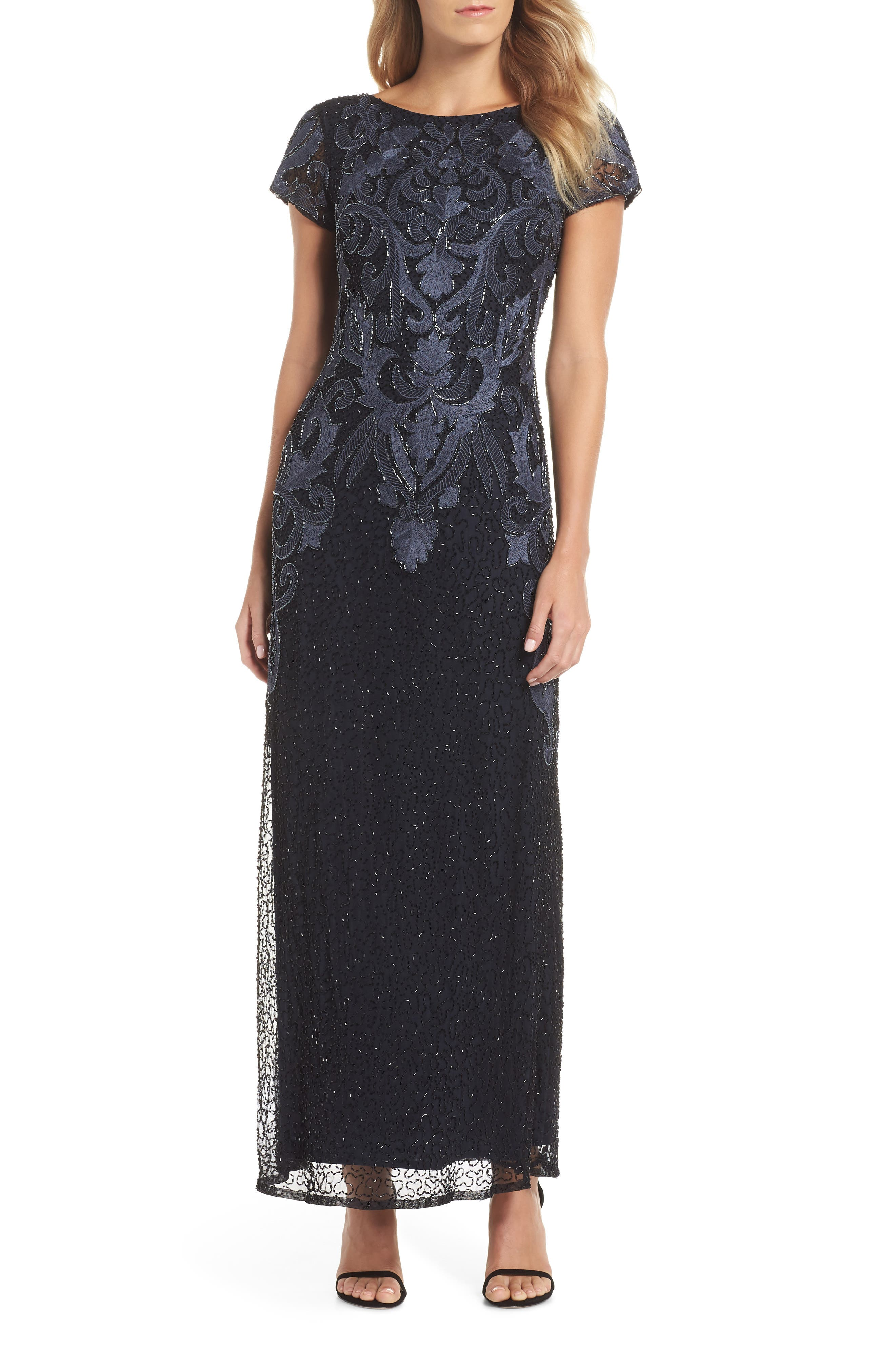 PISARRO NIGHTS Embroidered Mesh Gown, Main, color, 001