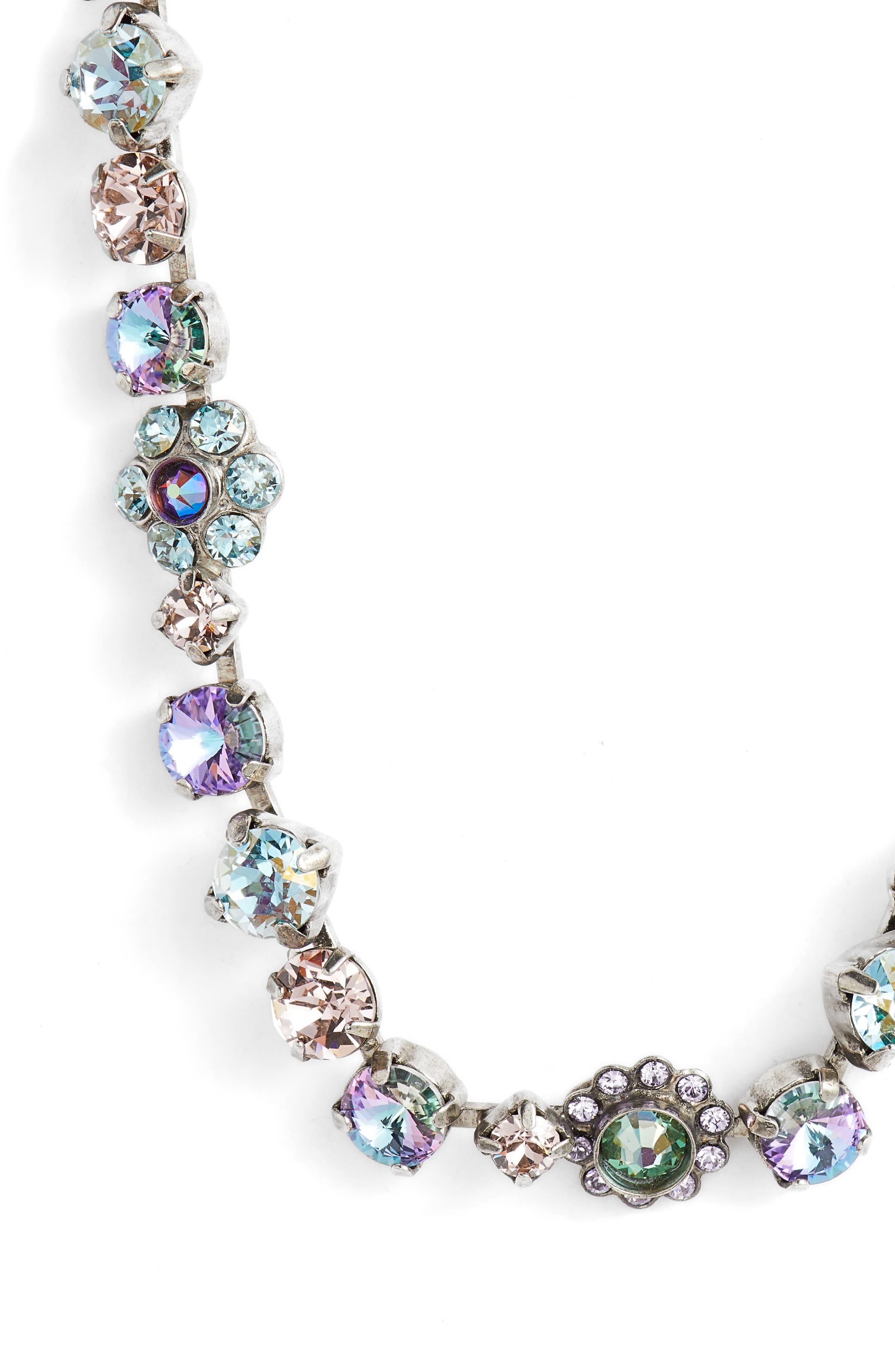 Classic Floral Crystal Necklace,                             Alternate thumbnail 2, color,                             PURPLE