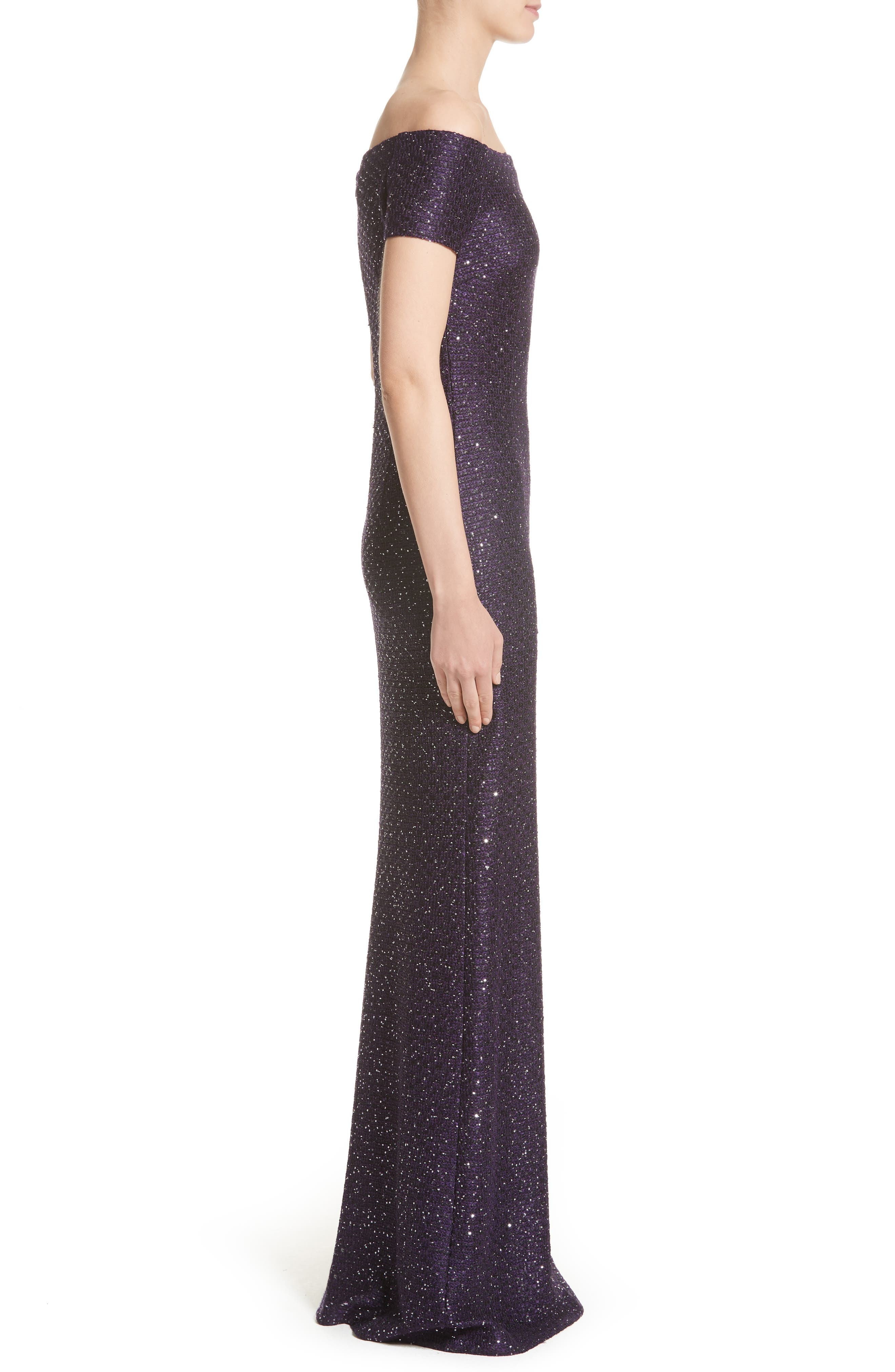 St John Evening Hansh Sequin Knit Off the Shoulder Gown,                             Alternate thumbnail 3, color,                             500