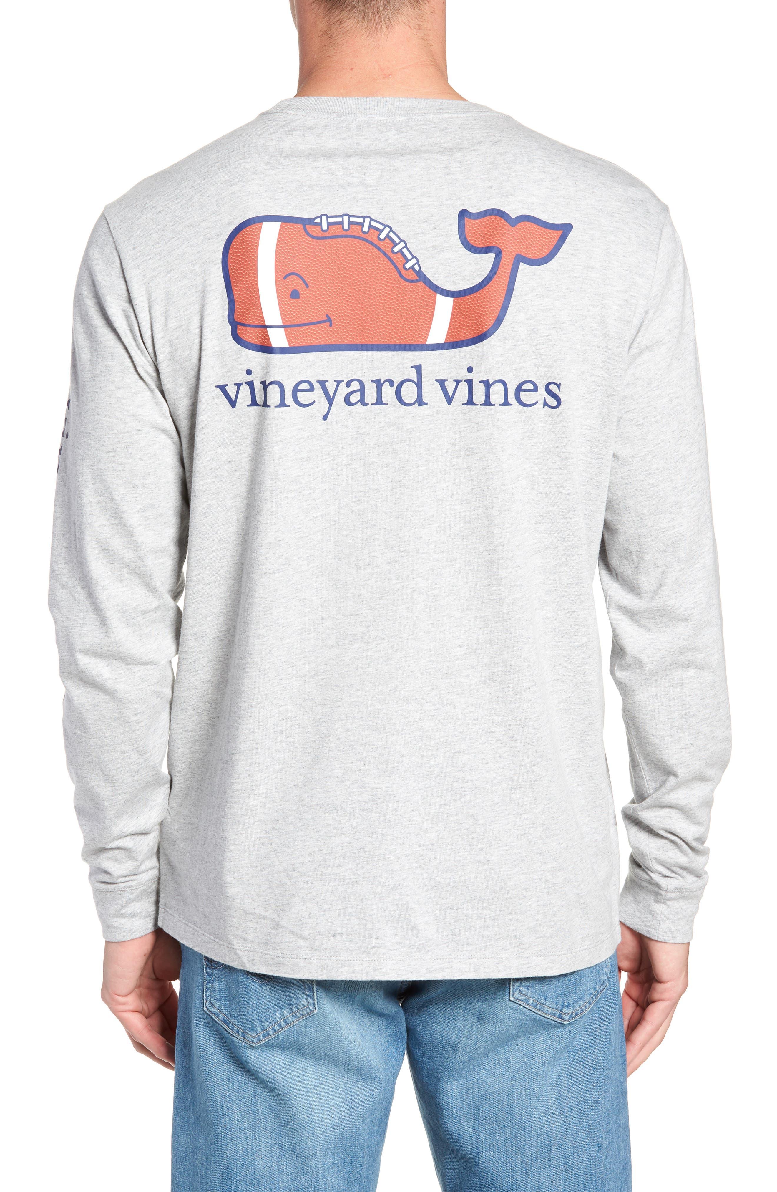 Football Whale Long Sleeve Pocket T-Shirt,                             Alternate thumbnail 2, color,                             GRAY HEATHER