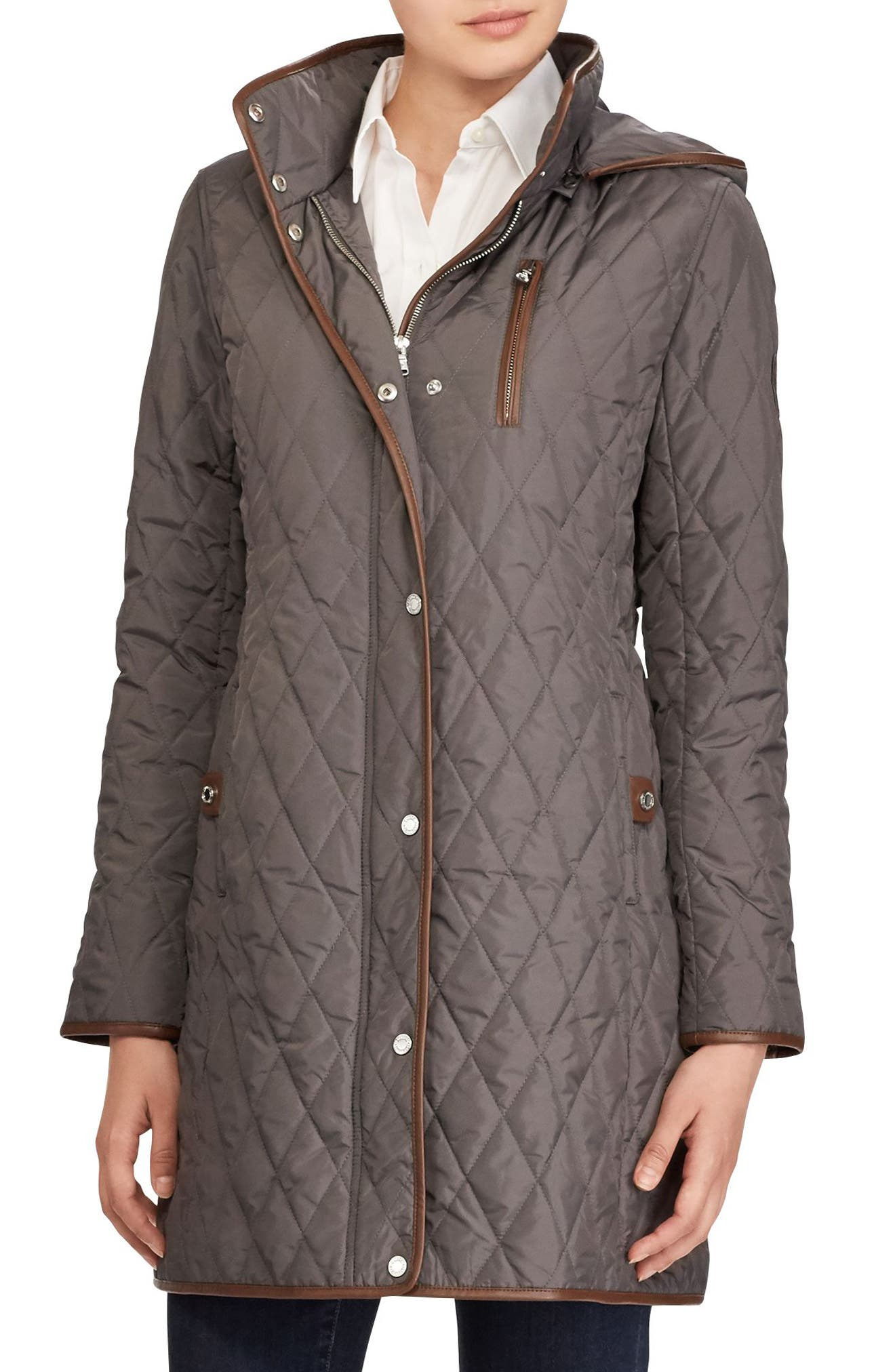 Faux Leather Trim Quilted Coat,                         Main,                         color, 113