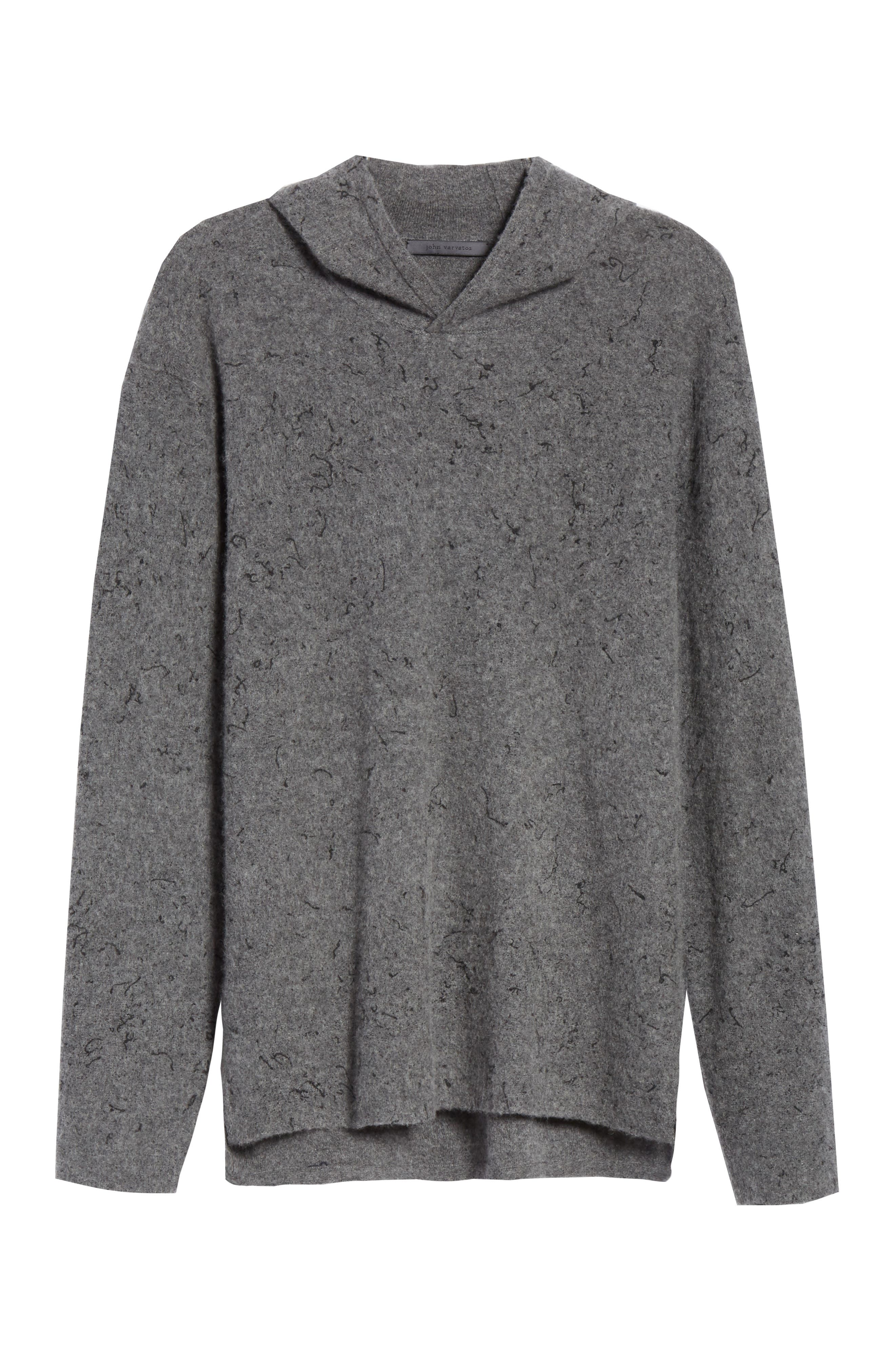 Wool Cashmere Hooded Sweater,                             Alternate thumbnail 6, color,                             SMOKE HEATHER