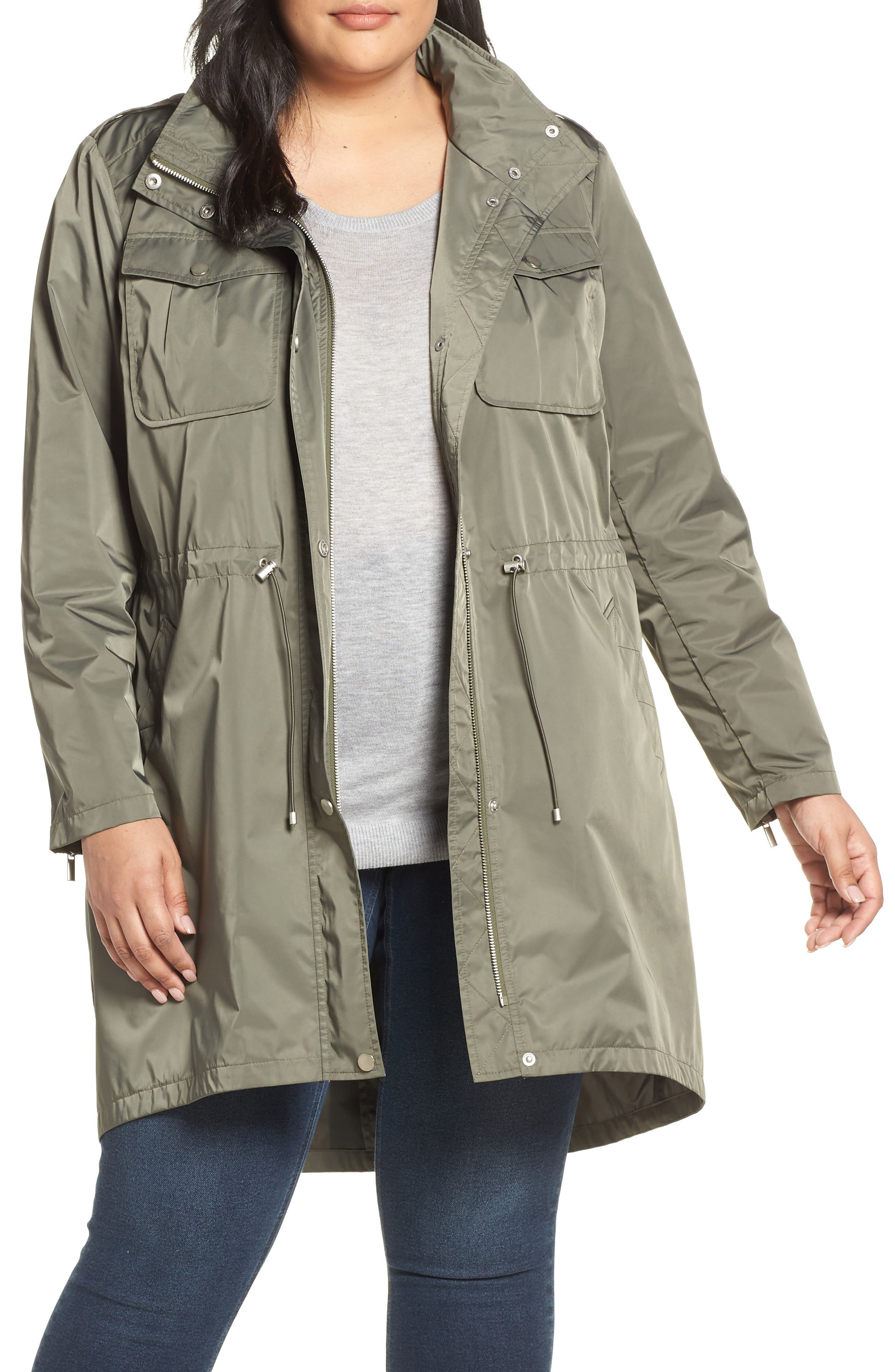 Badgley Mischka Dakota Raincoat,                             Main thumbnail 1, color,                             PALM