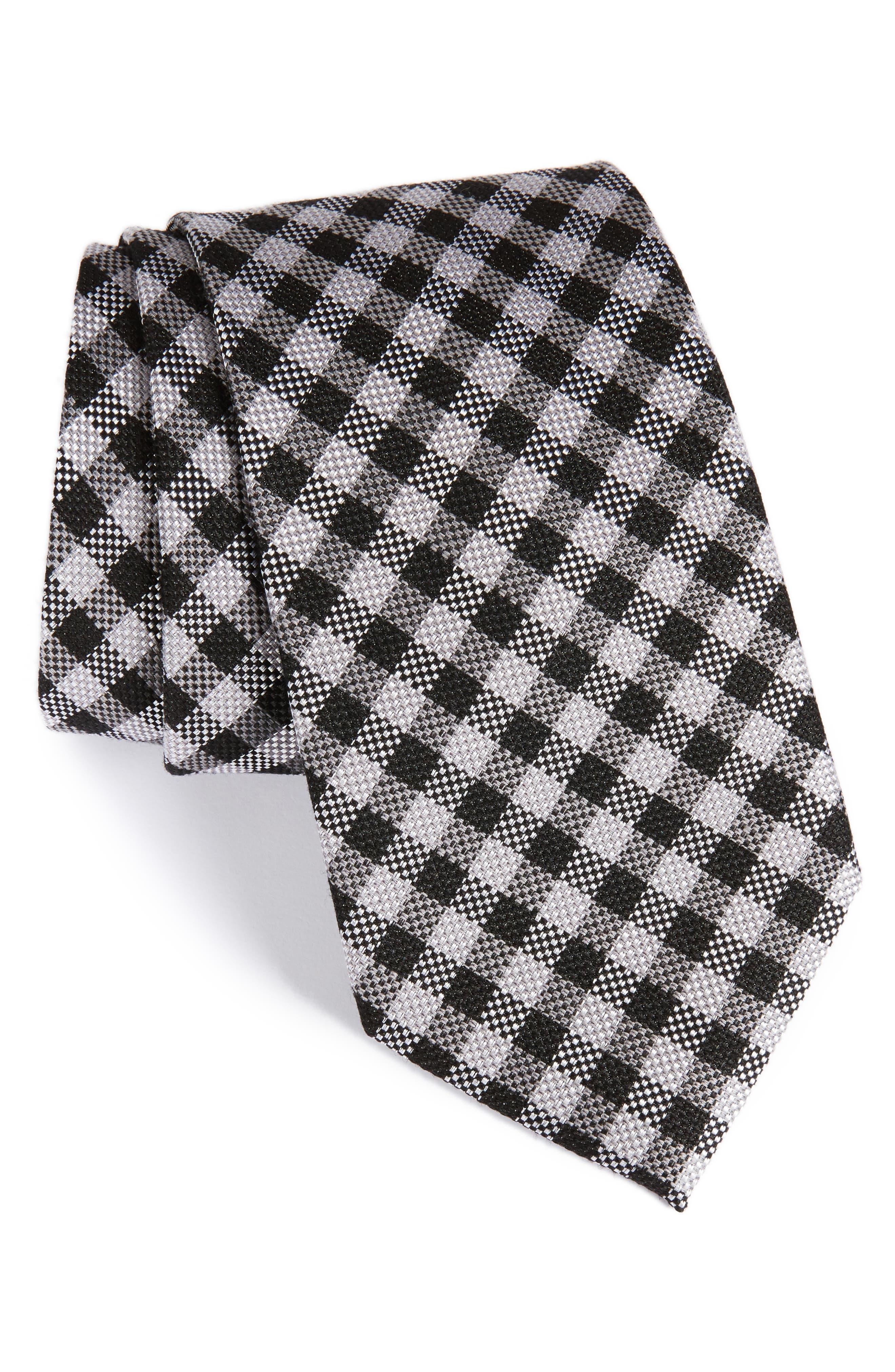 Check Silk & Wool Tie,                         Main,                         color, 001