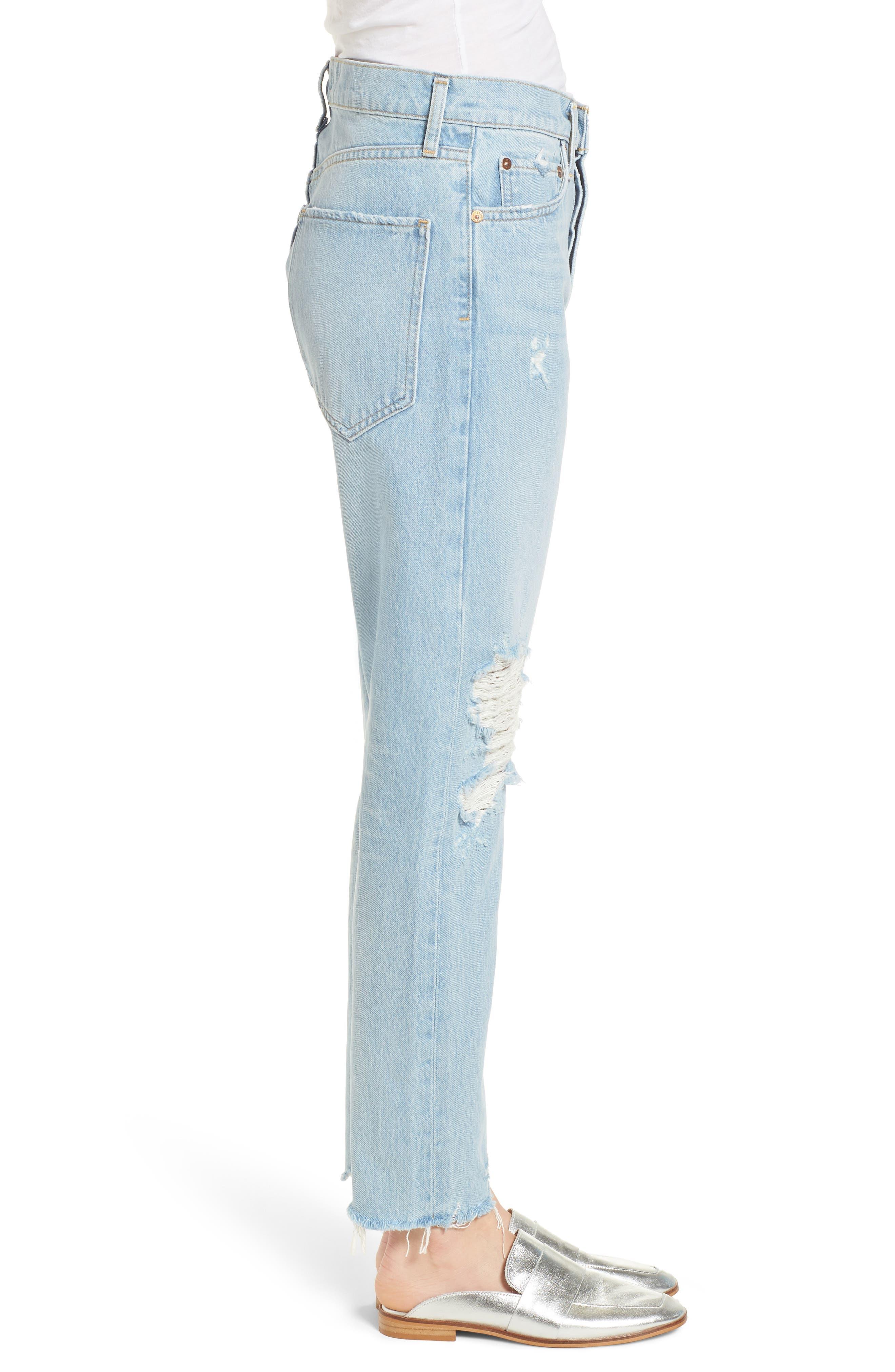 Jamie High Waist Ankle Jeans,                             Alternate thumbnail 3, color,                             453