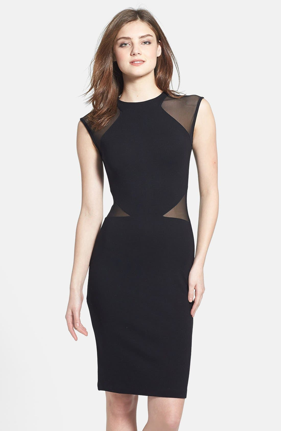 FRENCH CONNECTION 'Viven' Mesh Paneled Sheath Dress, Main, color, 001