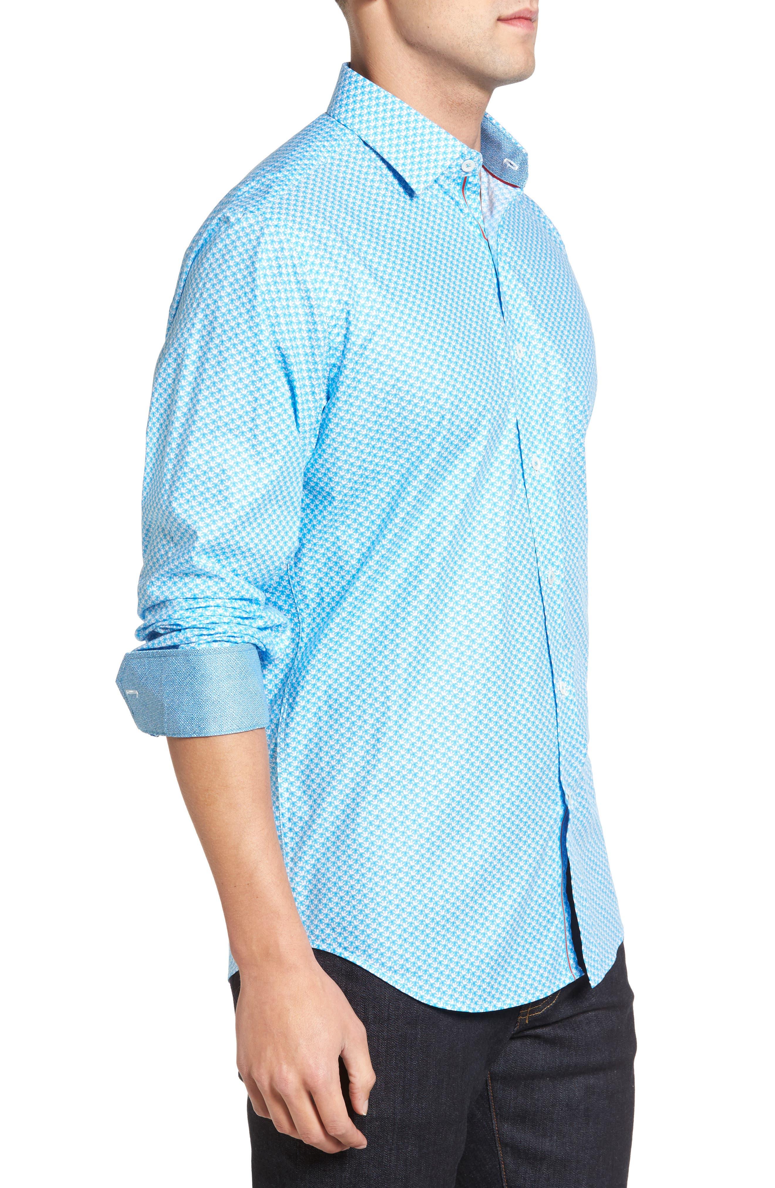 Classic Fit Umbrella Print Sport Shirt,                             Alternate thumbnail 3, color,                             425