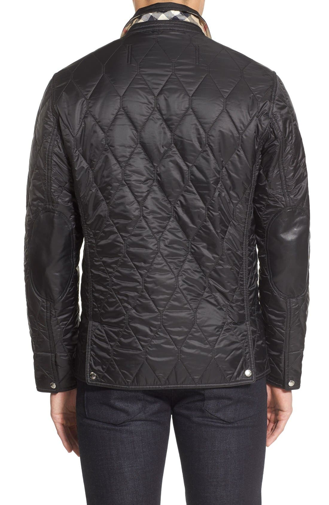 Gillington Water Resistant Quilted Jacket,                             Alternate thumbnail 4, color,                             BLACK