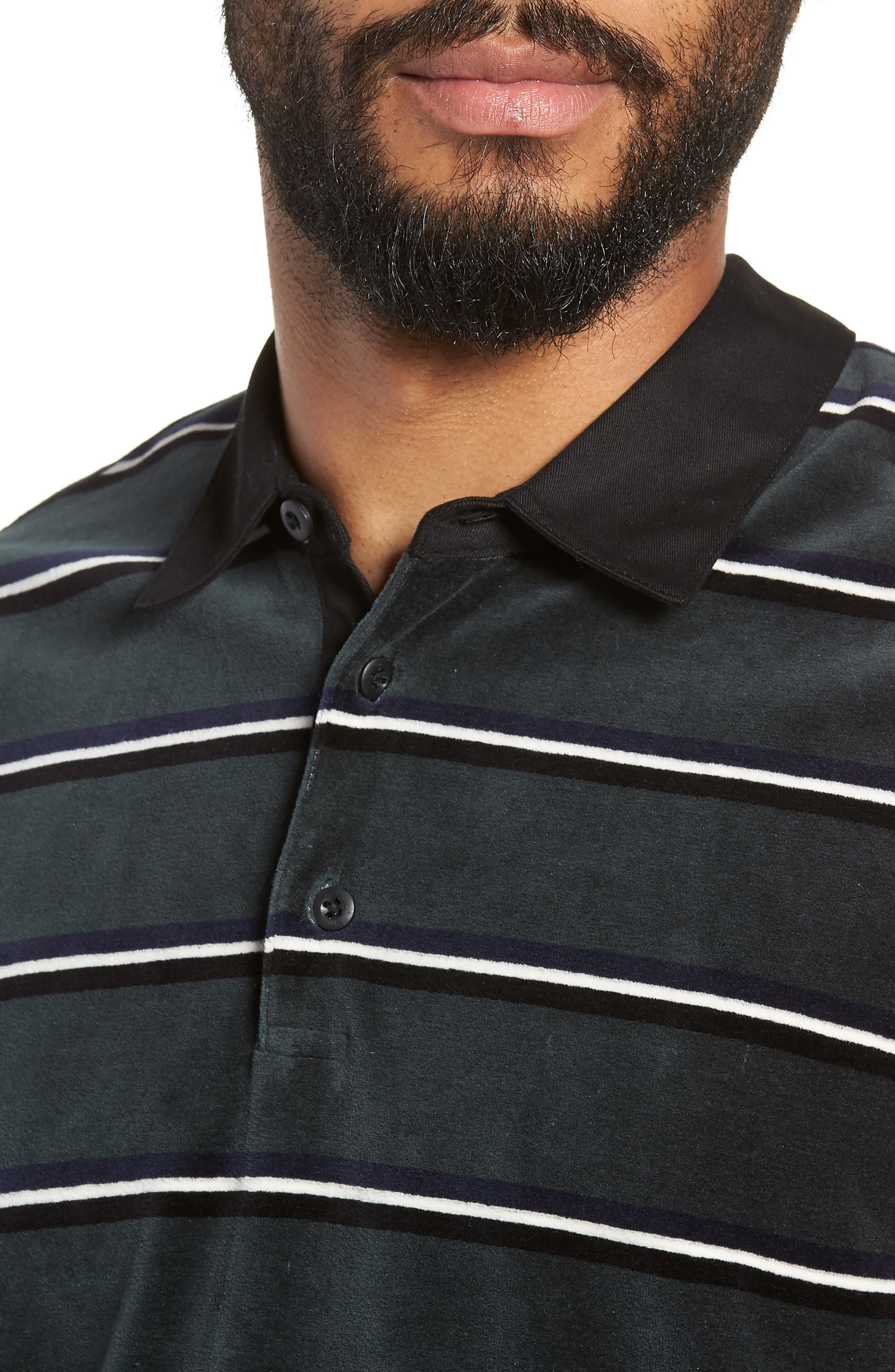Rugby Stripe Long Sleeve Polo,                             Alternate thumbnail 4, color,                             HUNTER GREEN