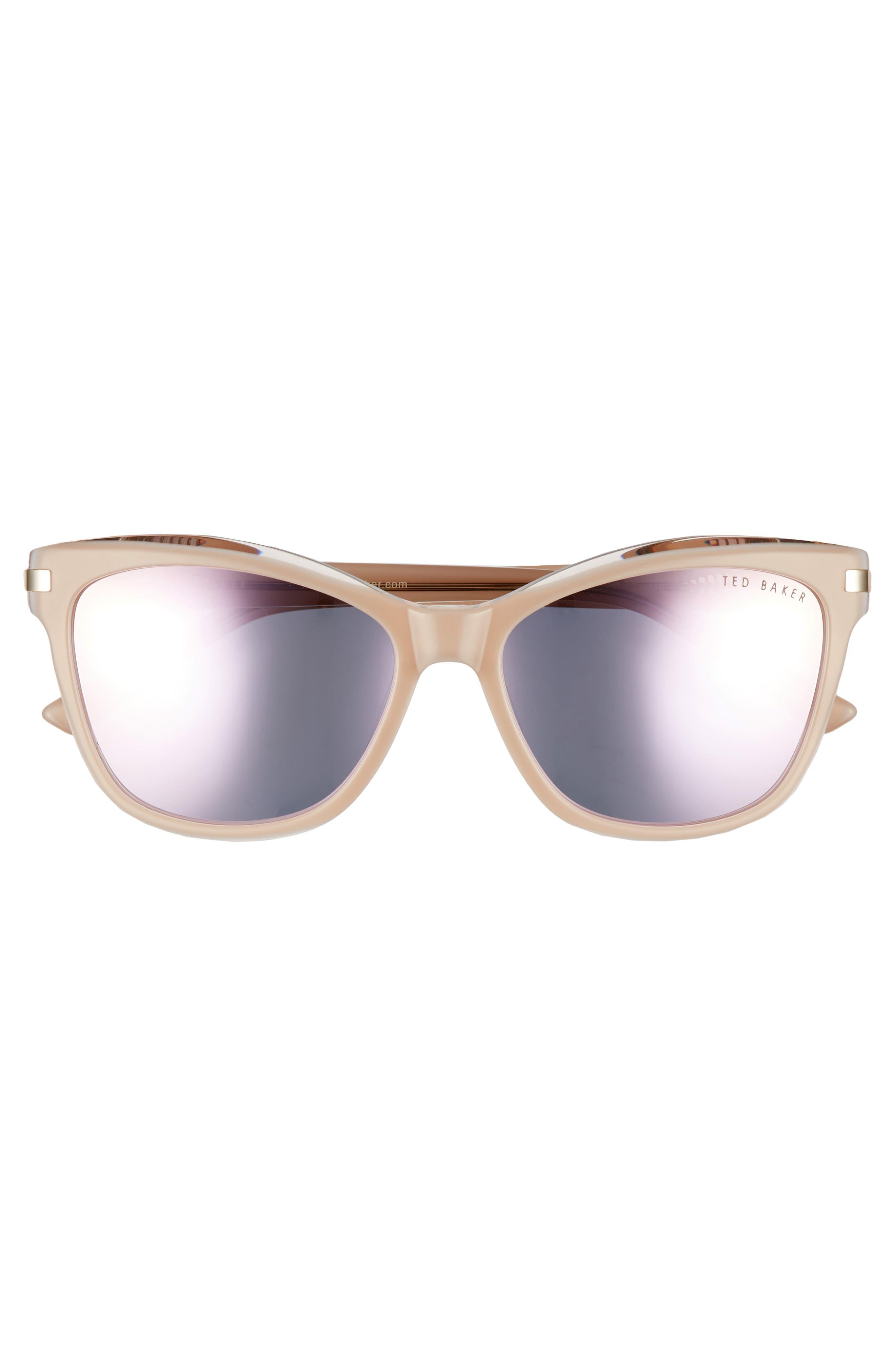 56mm Cat Eye Sunglasses,                             Alternate thumbnail 3, color,                             BLUSH