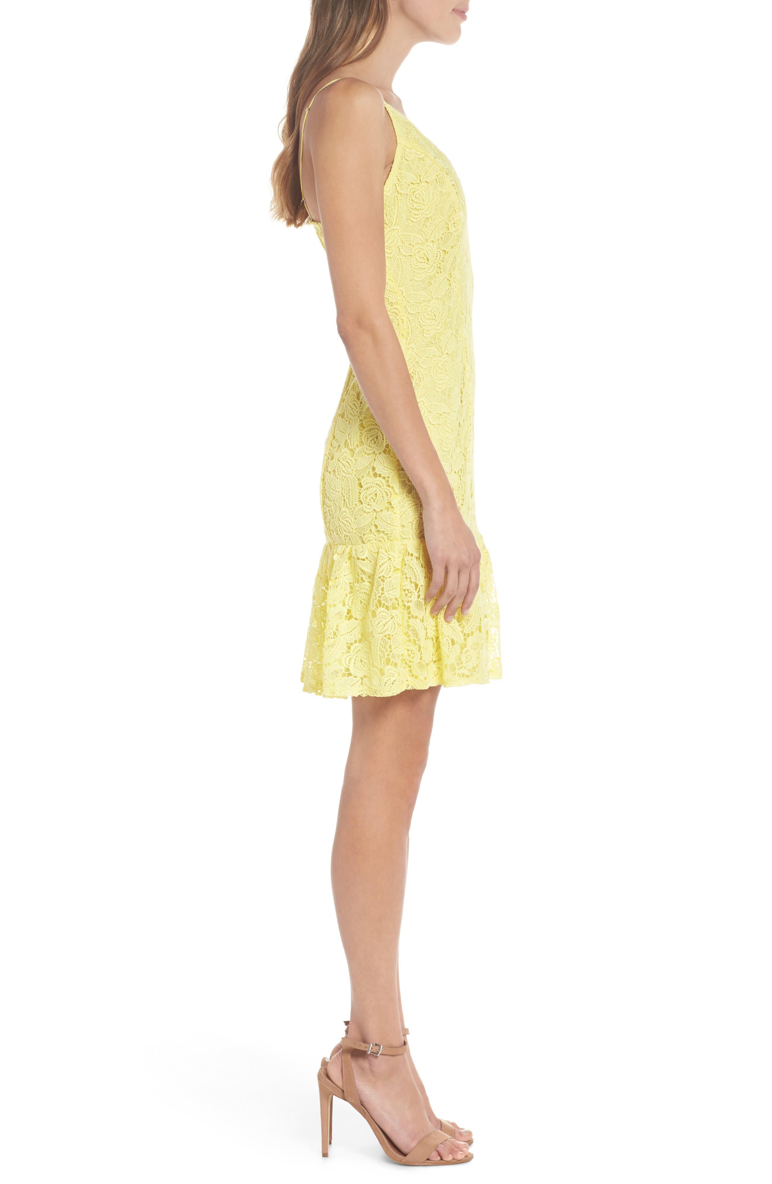 Gisel Ruffle Hem Lace Dress,                             Alternate thumbnail 3, color,                             720