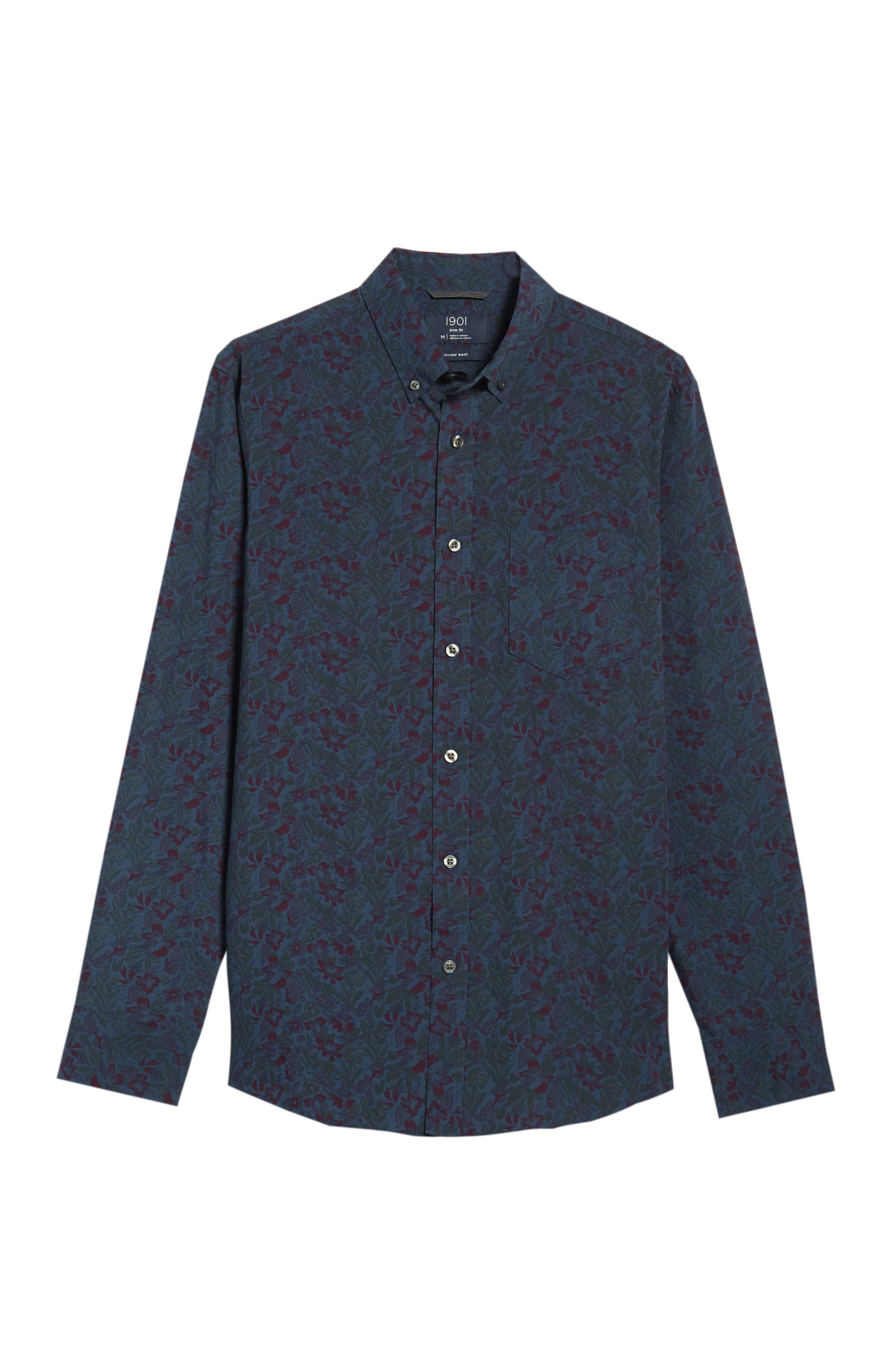 Trim Fit Floral Print Sport Shirt,                             Alternate thumbnail 6, color,                             NAVY TROPICAL CHAMBRAY PRINT