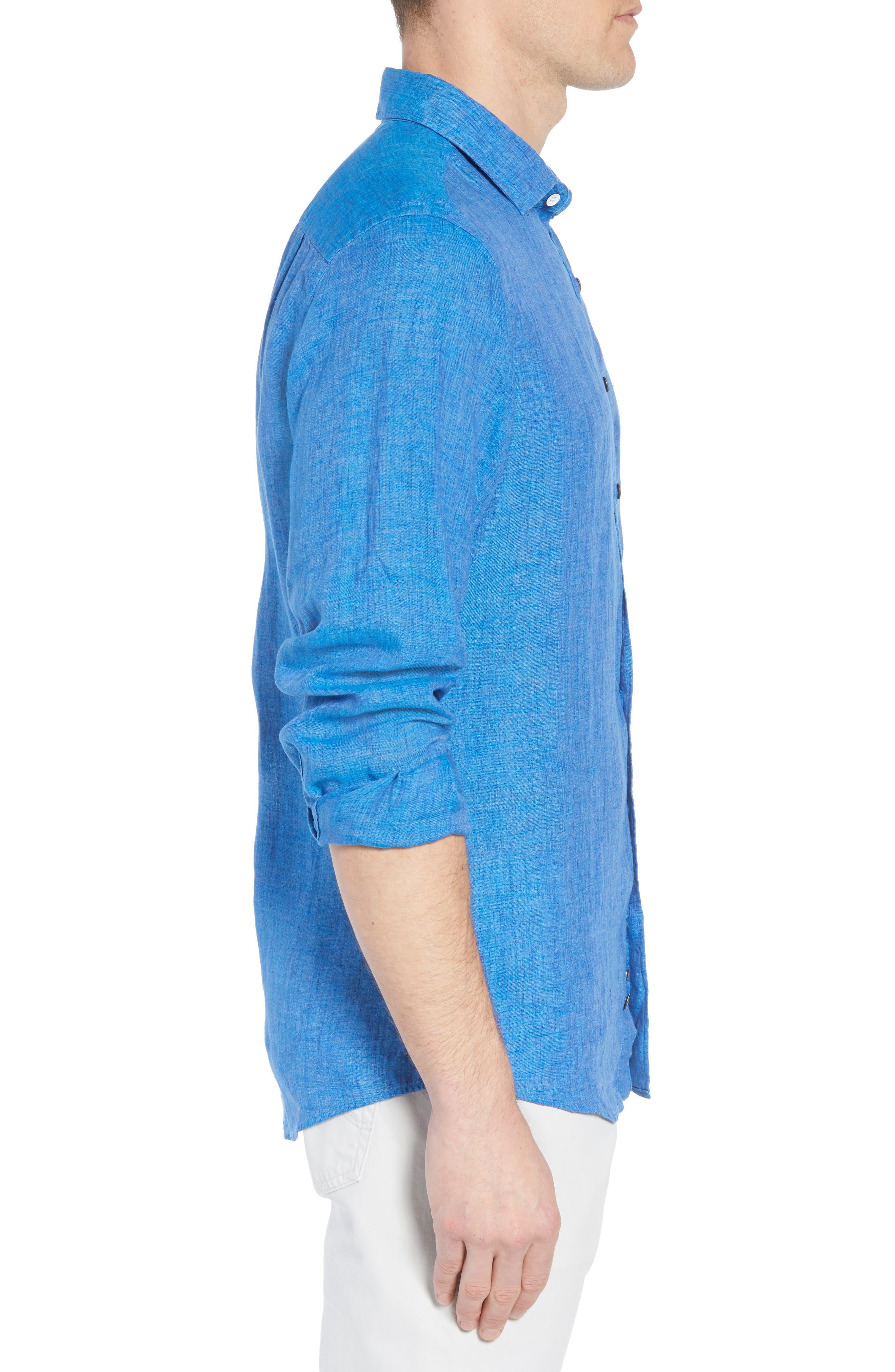 RODD & GUNN,                             Harris Bay Regular Fit Linen Sport Shirt,                             Alternate thumbnail 3, color,                             438