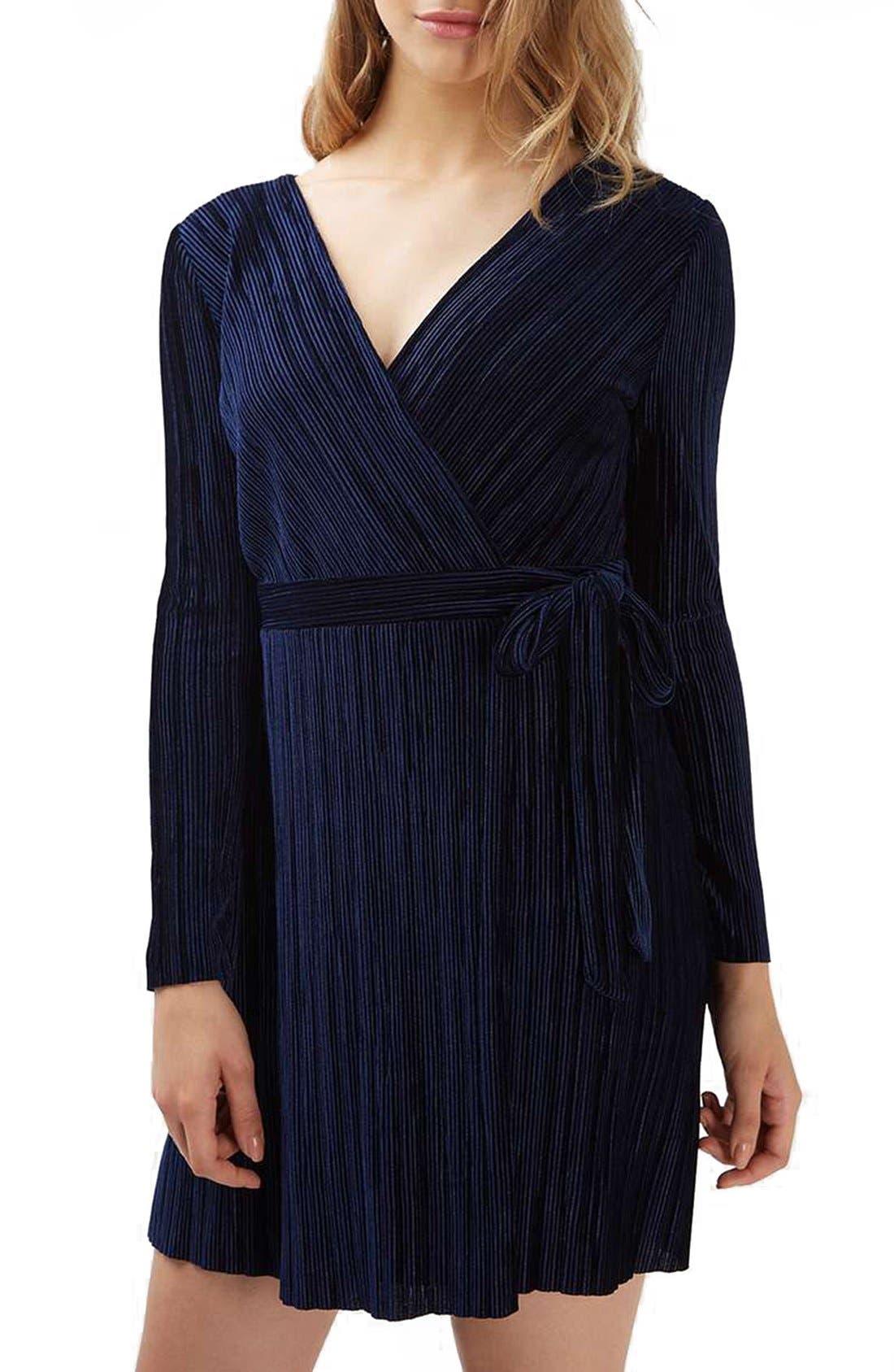 Velvet Wrap Dress,                             Main thumbnail 1, color,                             410
