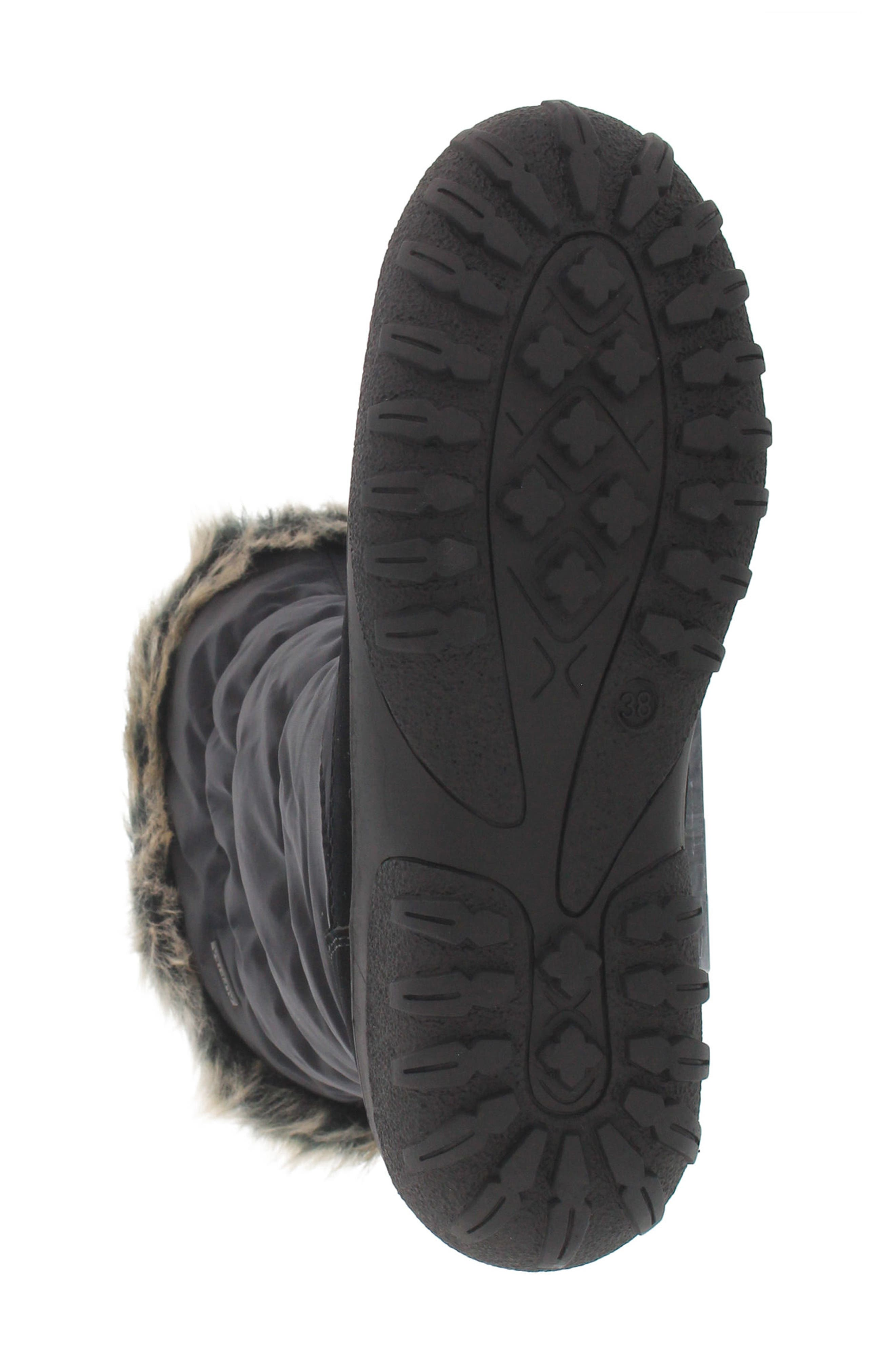 Vanish Faux Fur Trim Waterproof Boot,                             Alternate thumbnail 5, color,                             001