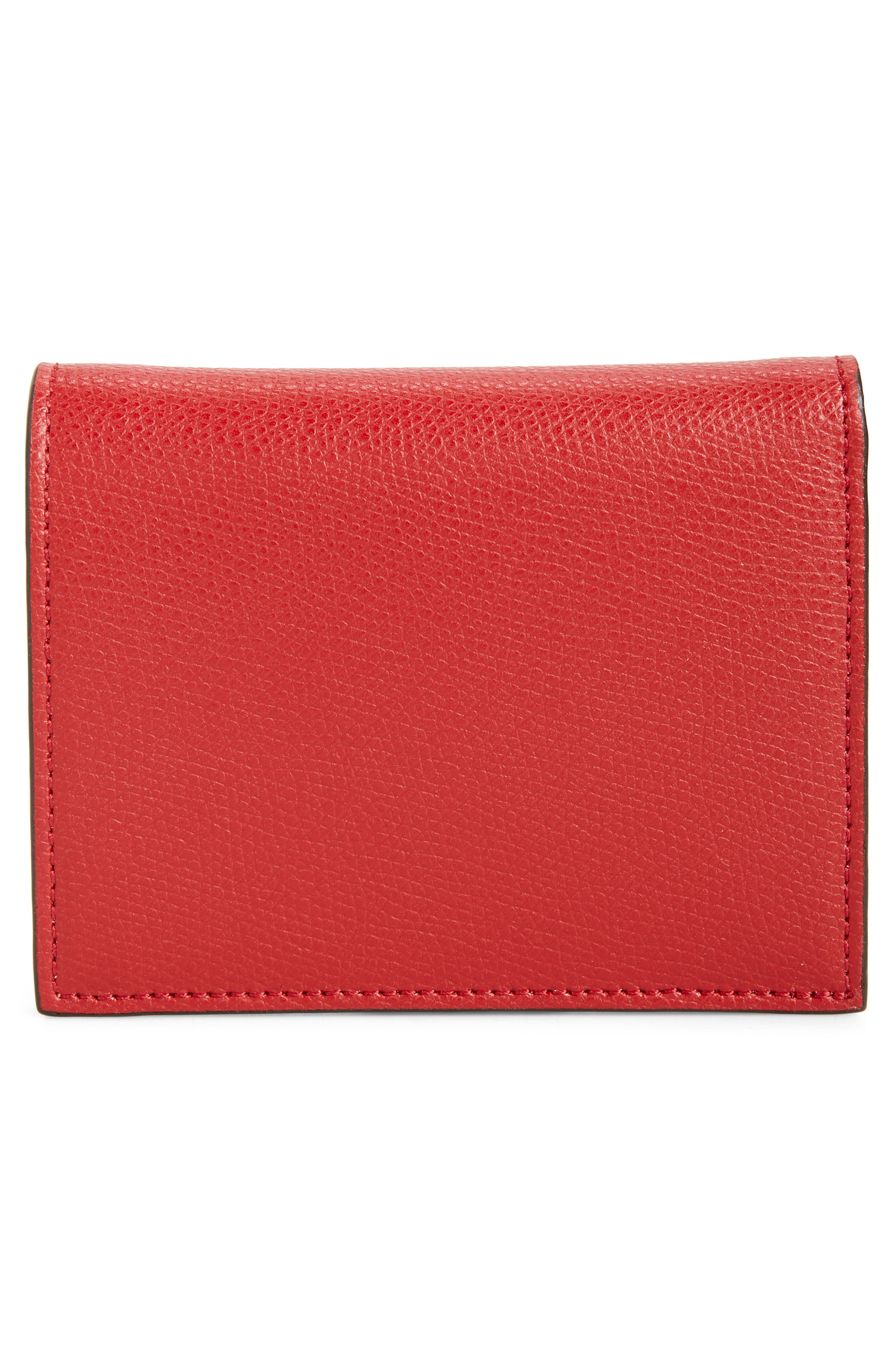 Logo Small Leather French Wallet,                             Alternate thumbnail 4, color,                             FRAGOLA/ ORO SOFT