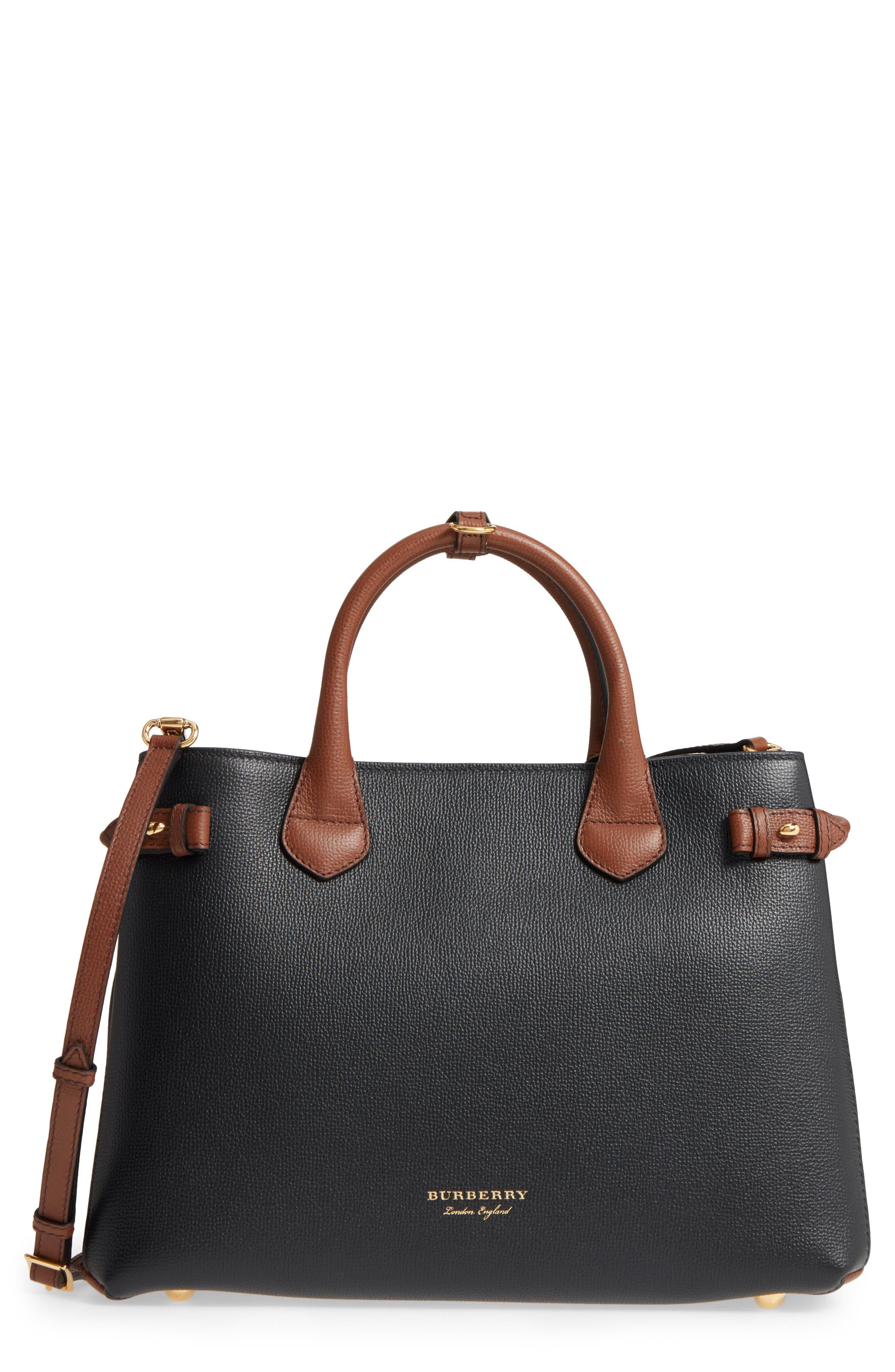 Medium Banner – Derby House Check Leather Satchel,                             Main thumbnail 1, color,                             001