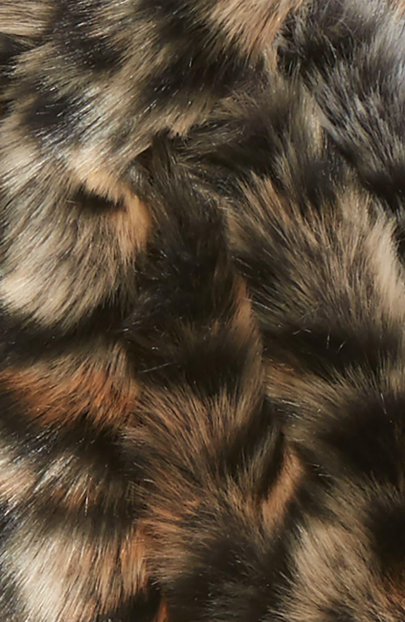 Leopard Faux Fur Stole,                             Alternate thumbnail 3, color,                             BROWN COMBO