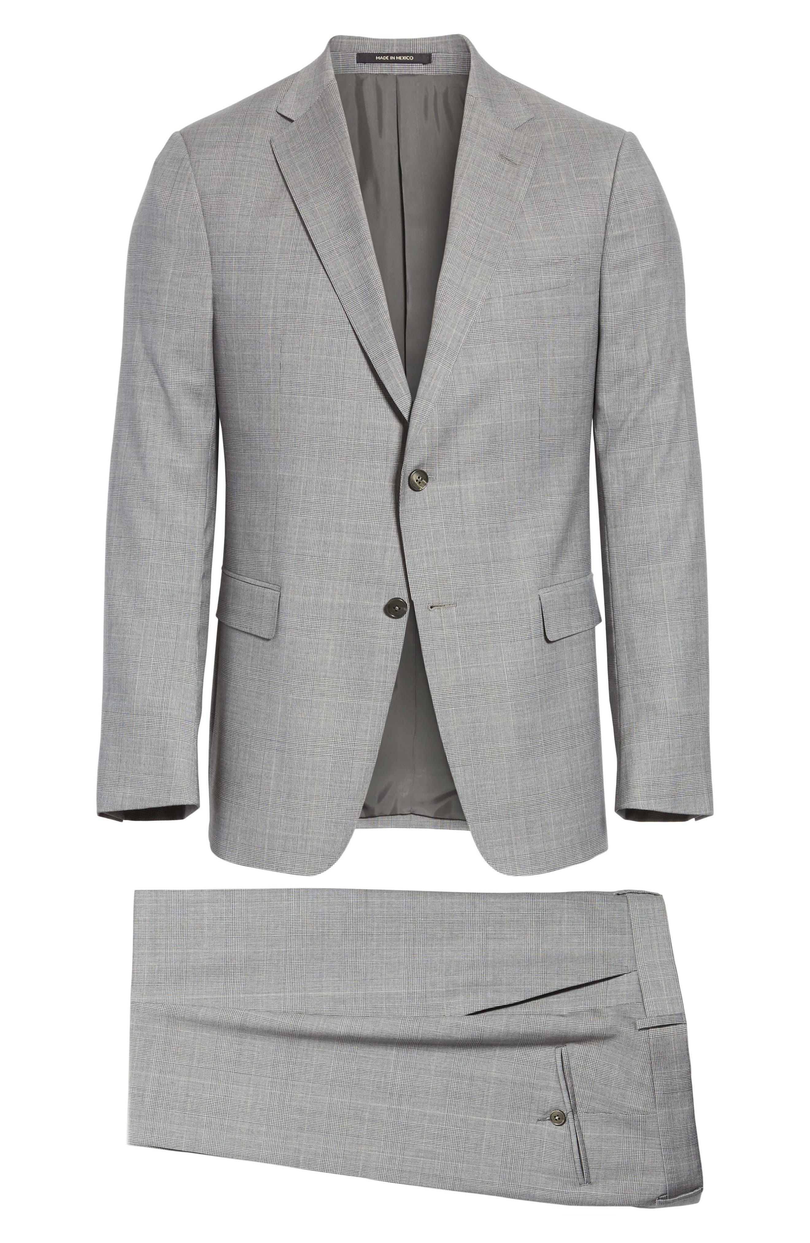 Classic Fit Plaid Wool Suit,                             Alternate thumbnail 8, color,