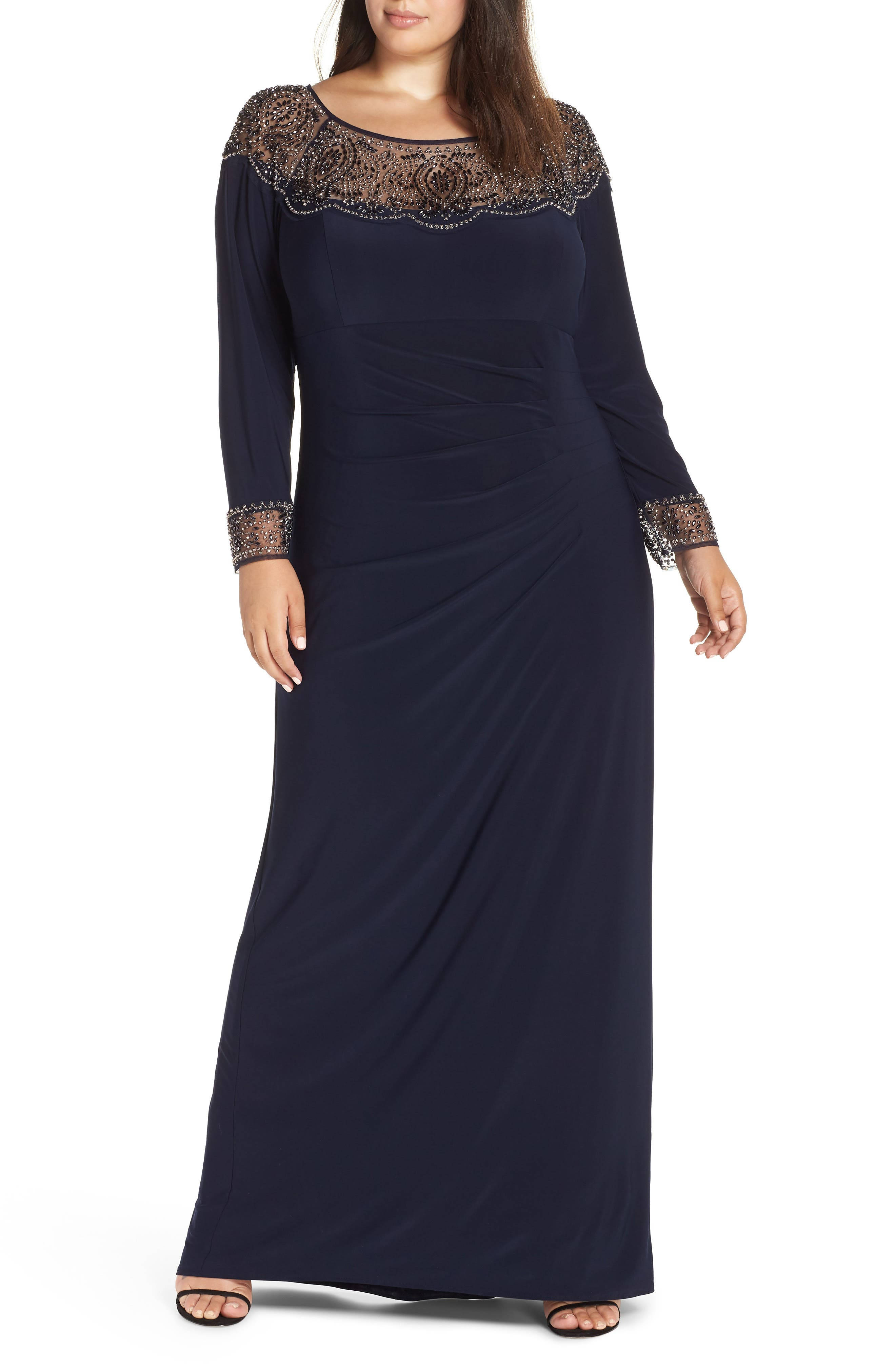 Side Ruched Beaded Gown,                         Main,                         color, NAVY/ GUN