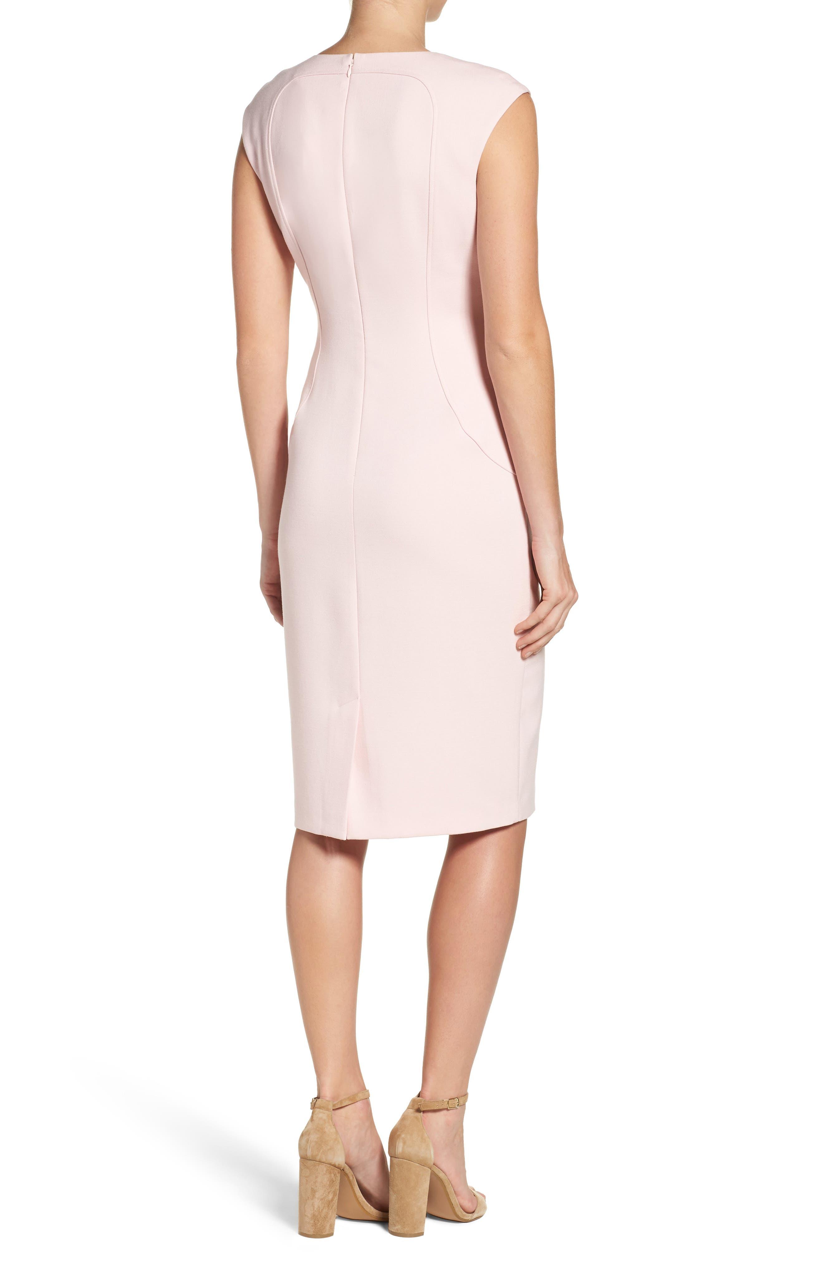 Cap Sleeve Crepe Sheath Dress,                             Alternate thumbnail 4, color,