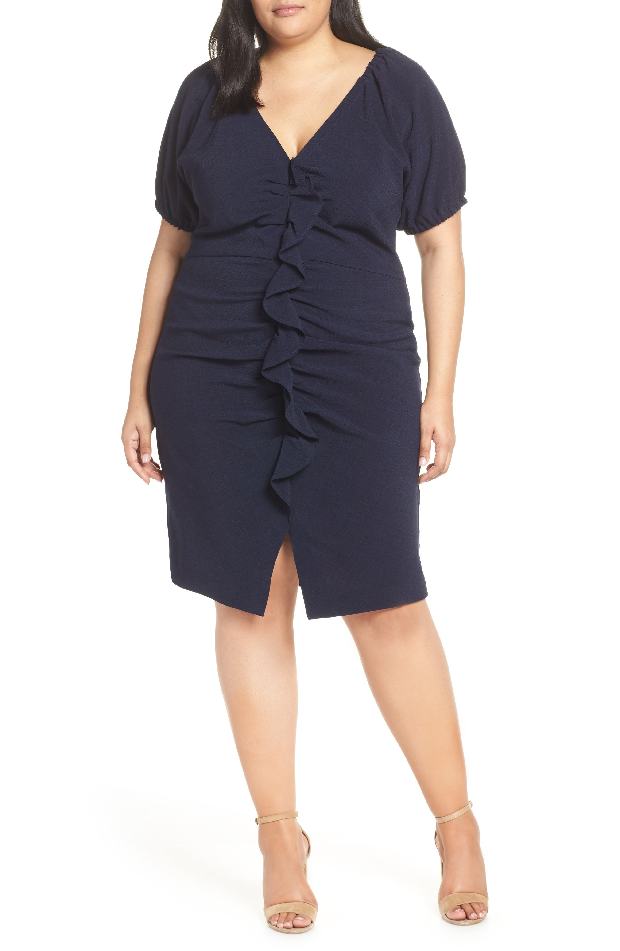 Chelsea28 Ruffle Front Sheath Dress, 4 (similar to 2) - Blue