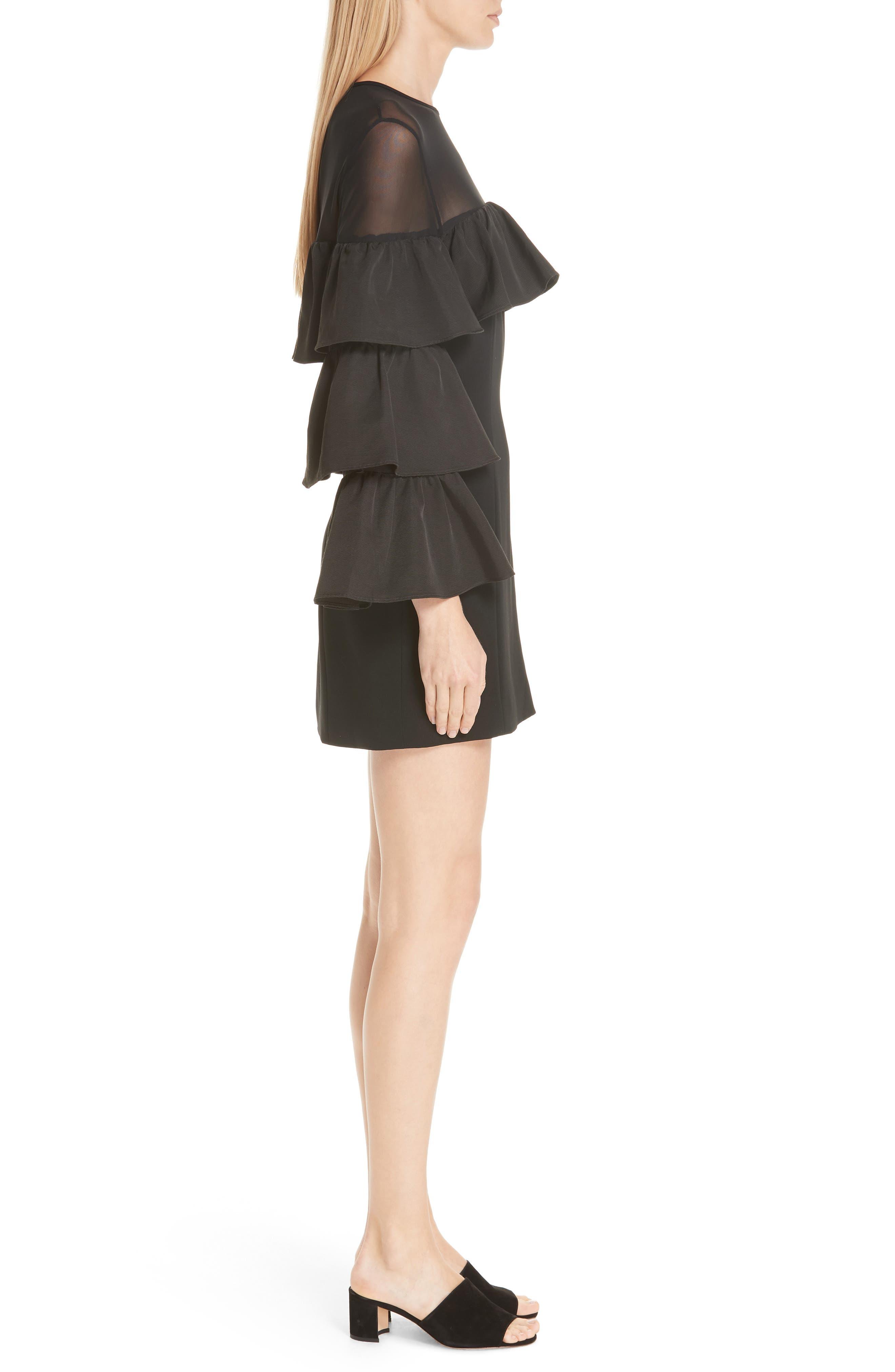 Valentina Ruffle Sleeve Dress,                             Alternate thumbnail 3, color,                             001