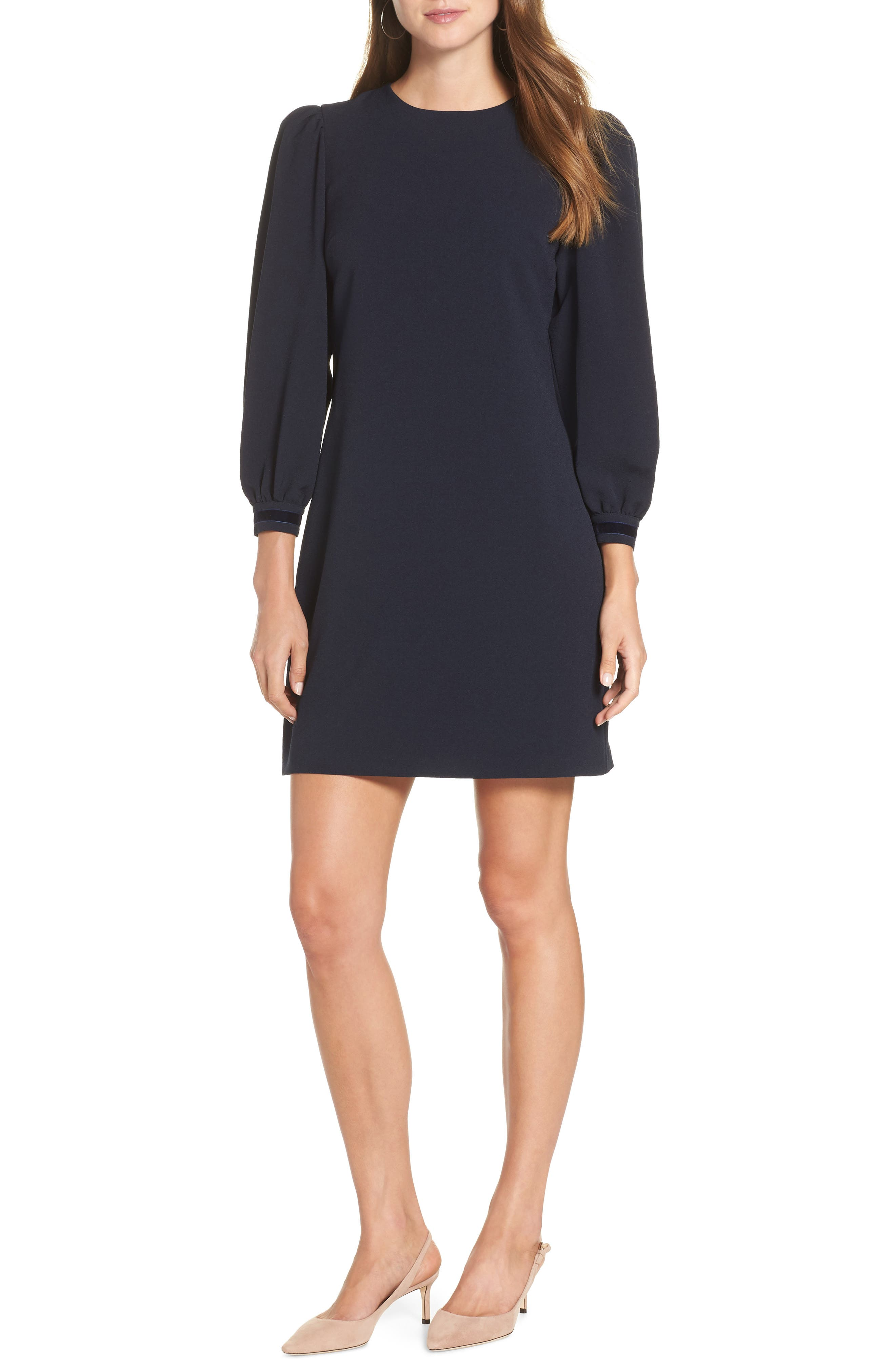 Velvet Trim Shift Dress,                         Main,                         color, NAVY