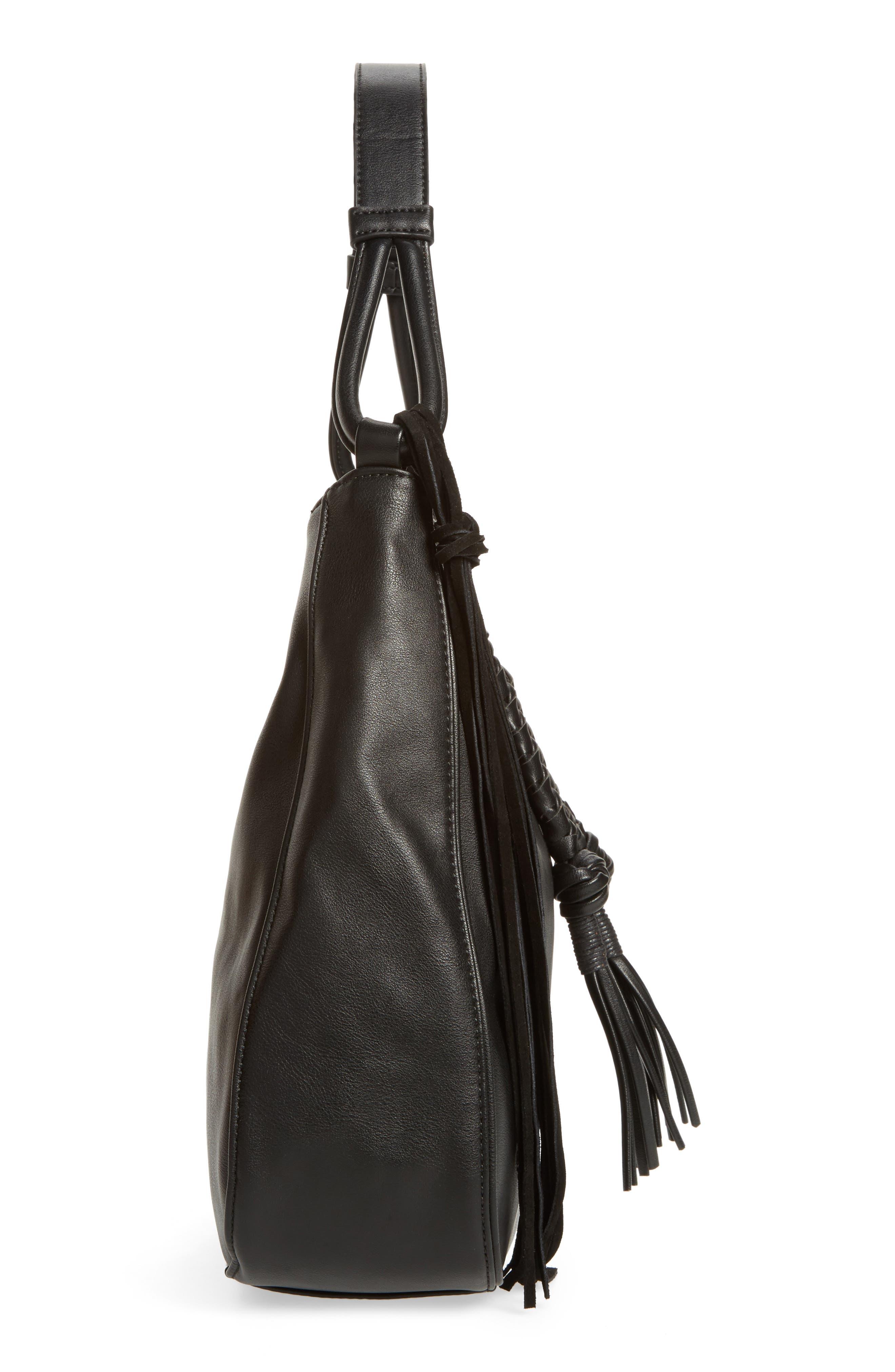 Vale Faux Leather Hobo Bag,                             Alternate thumbnail 5, color,                             001