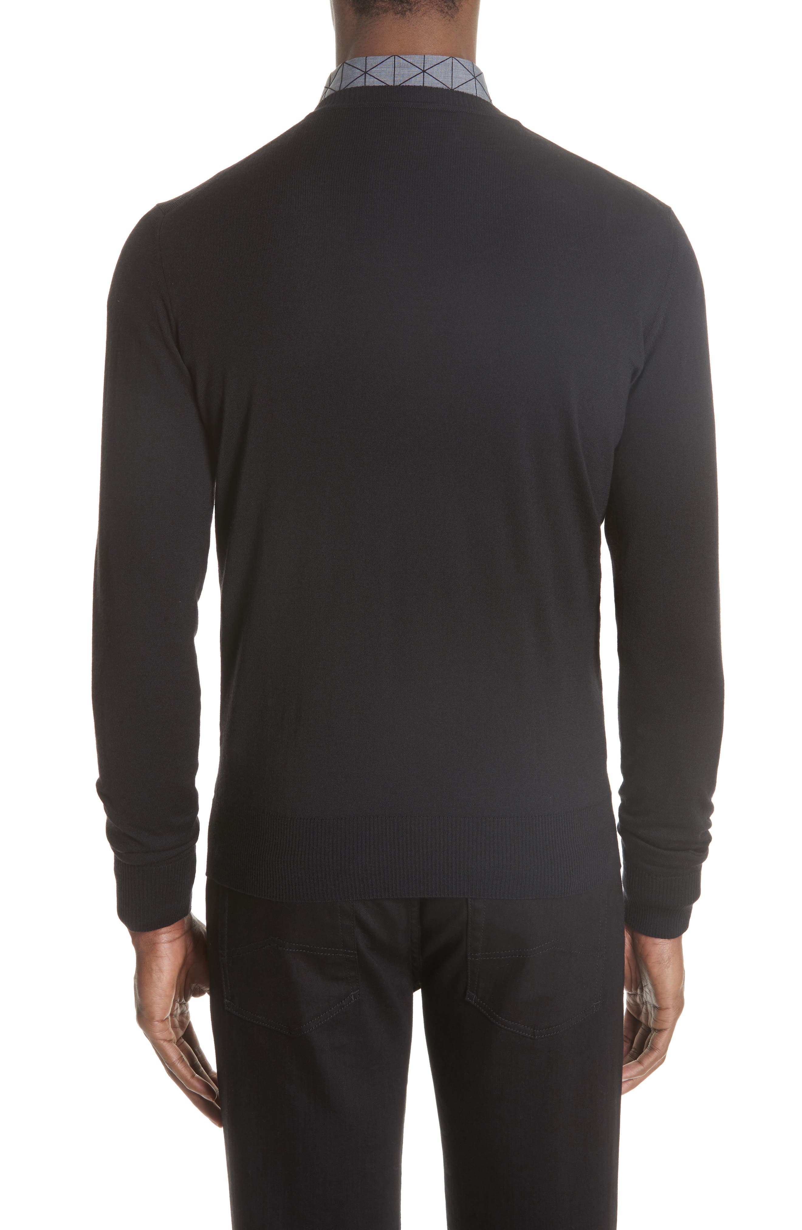 V-Neck Wool Sweater,                             Alternate thumbnail 2, color,                             BLACK
