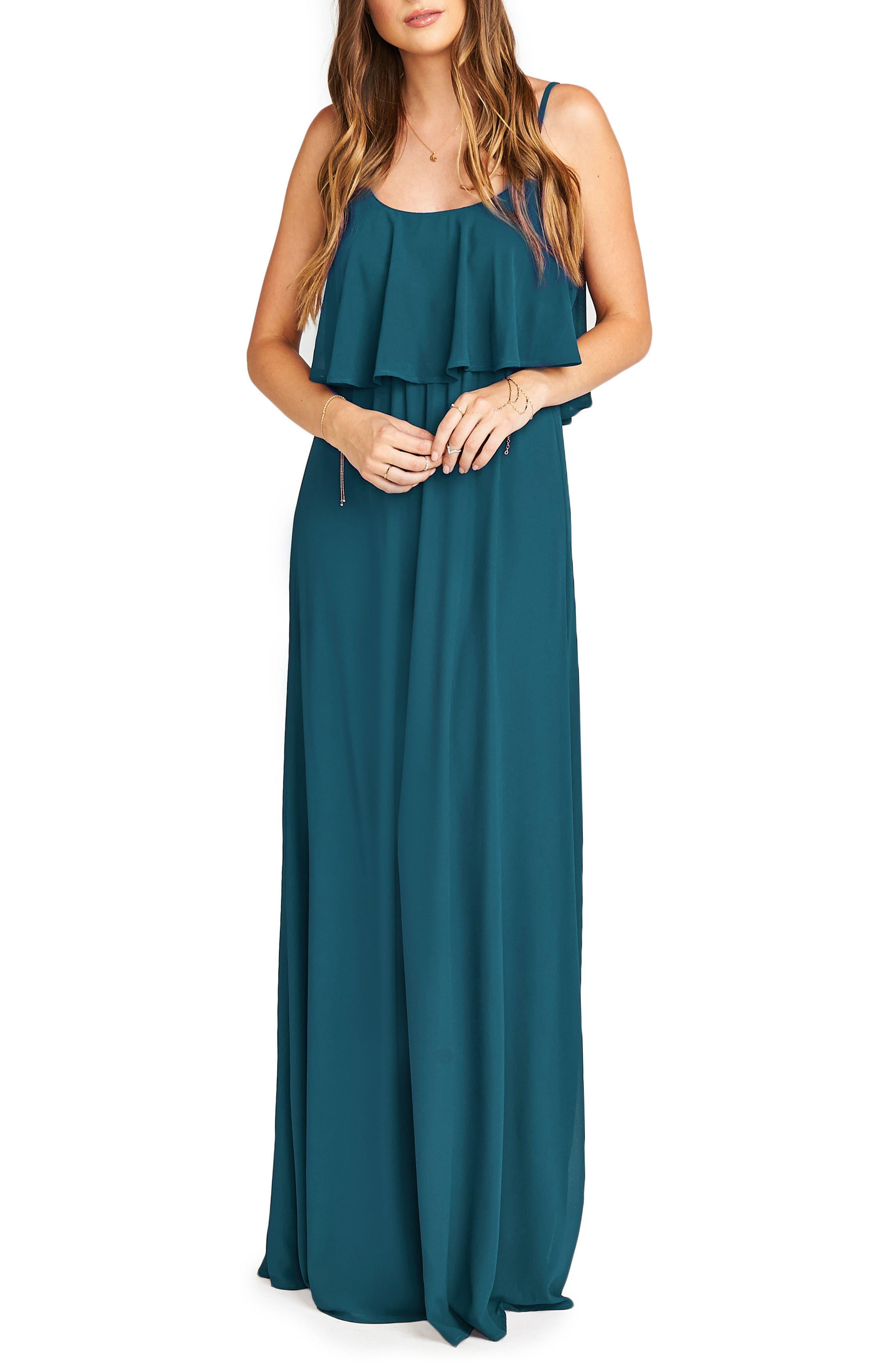 Caitlin Cold Shoulder Chiffon Gown,                             Alternate thumbnail 54, color,