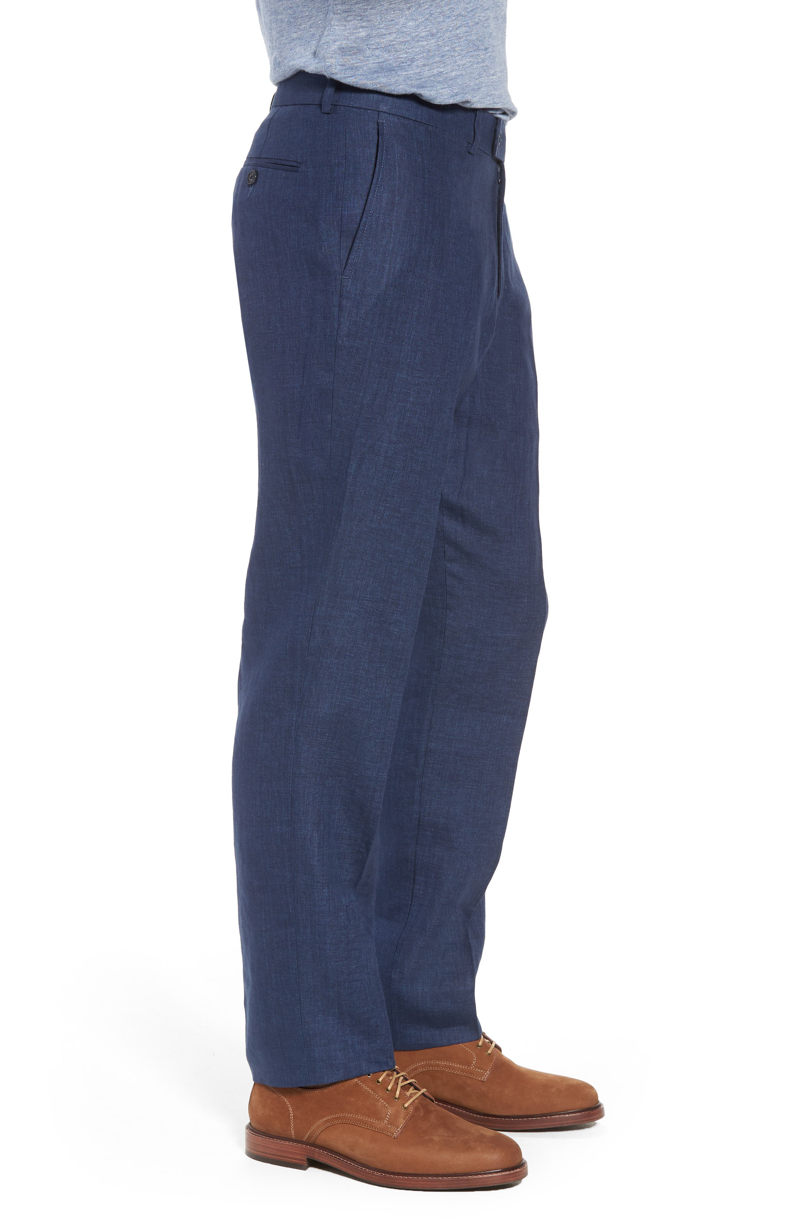 Andrew AIM Flat Front Linen Trousers,                             Alternate thumbnail 3, color,                             NAVY
