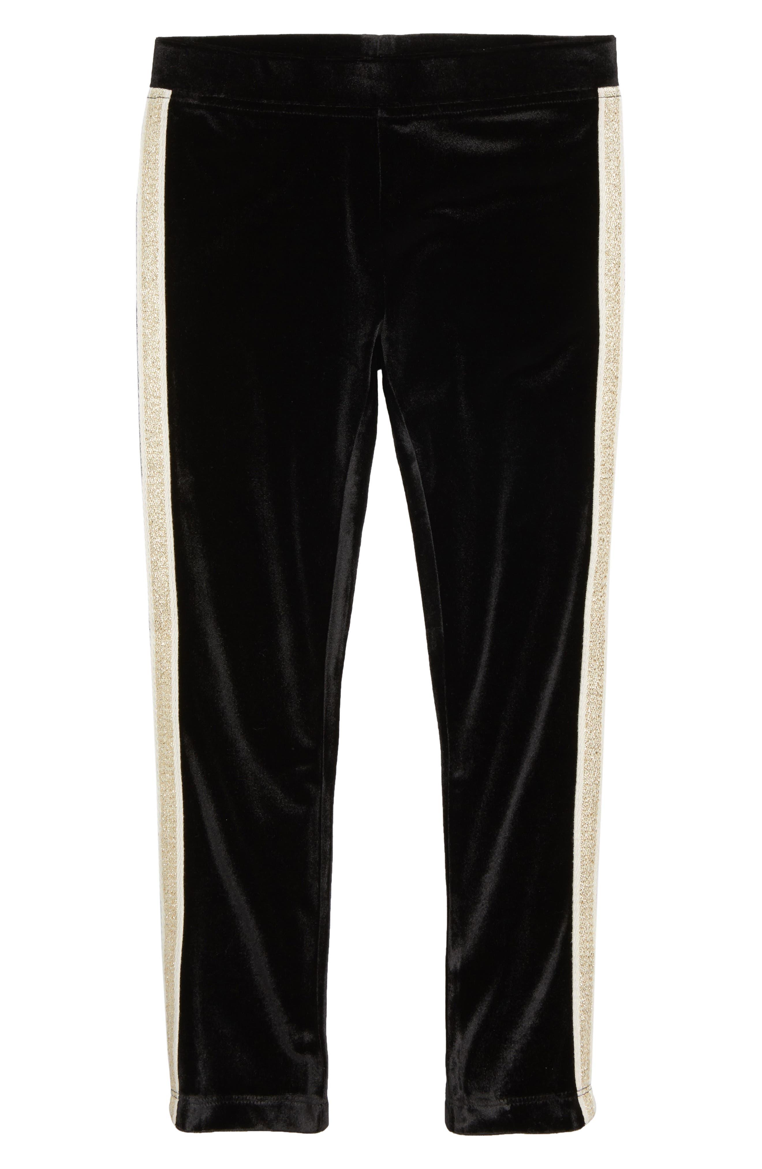 Velvet Side Stripe Leggings,                         Main,                         color, BLACK