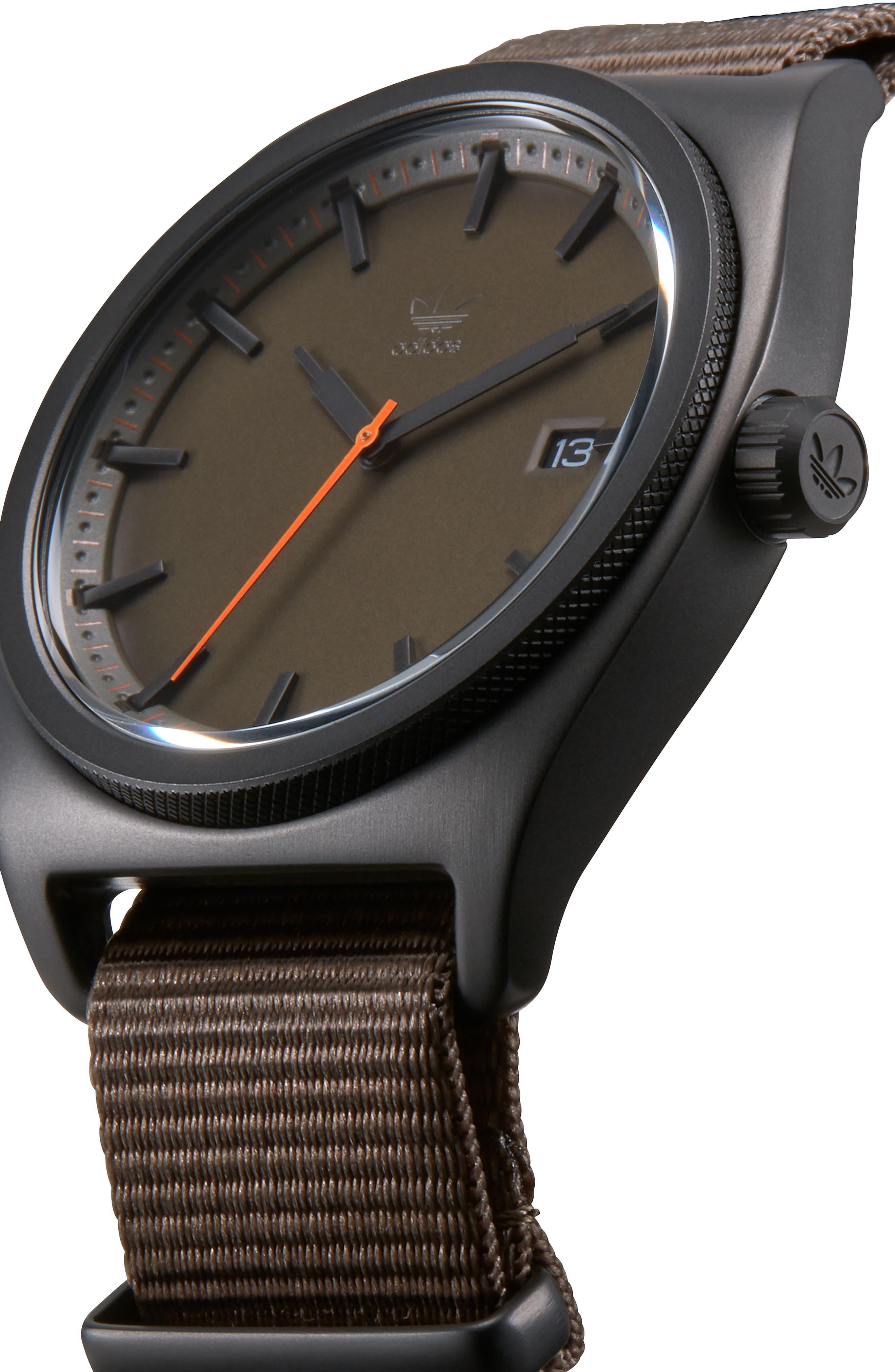 Process Nylon Strap Watch, 40mm,                             Alternate thumbnail 5, color,                             BROWN/ BRANCH/ BLACK