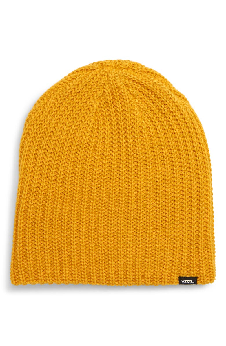 e625a42158d A chunky rib knit brings warmth and sporty good looks to a beanie finished  with a small logo detail. Style Name  Vans Mismoedig Plus Beanie.